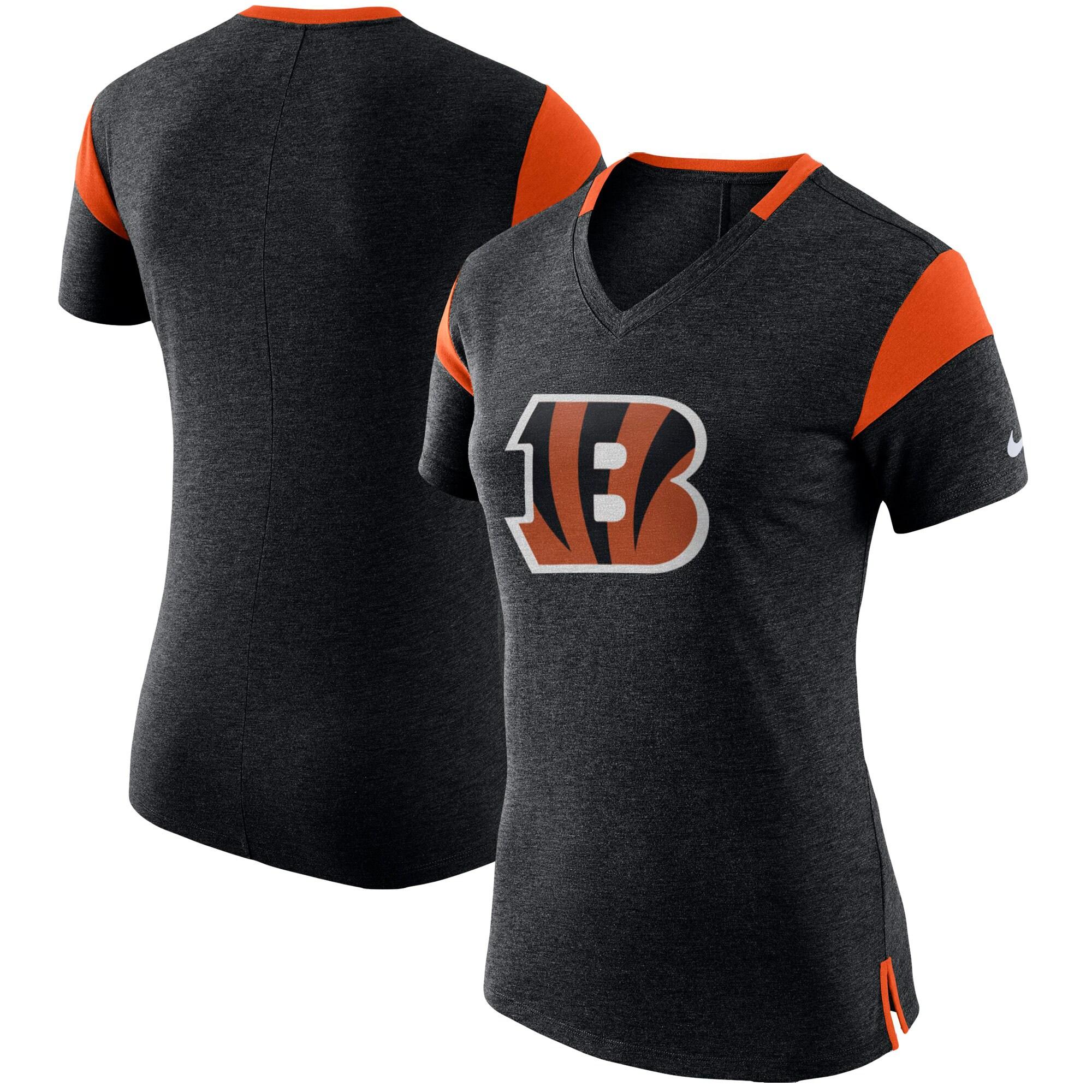 Cincinnati Bengals Nike Women's Fan V-Neck T-Shirt - Heathered Black