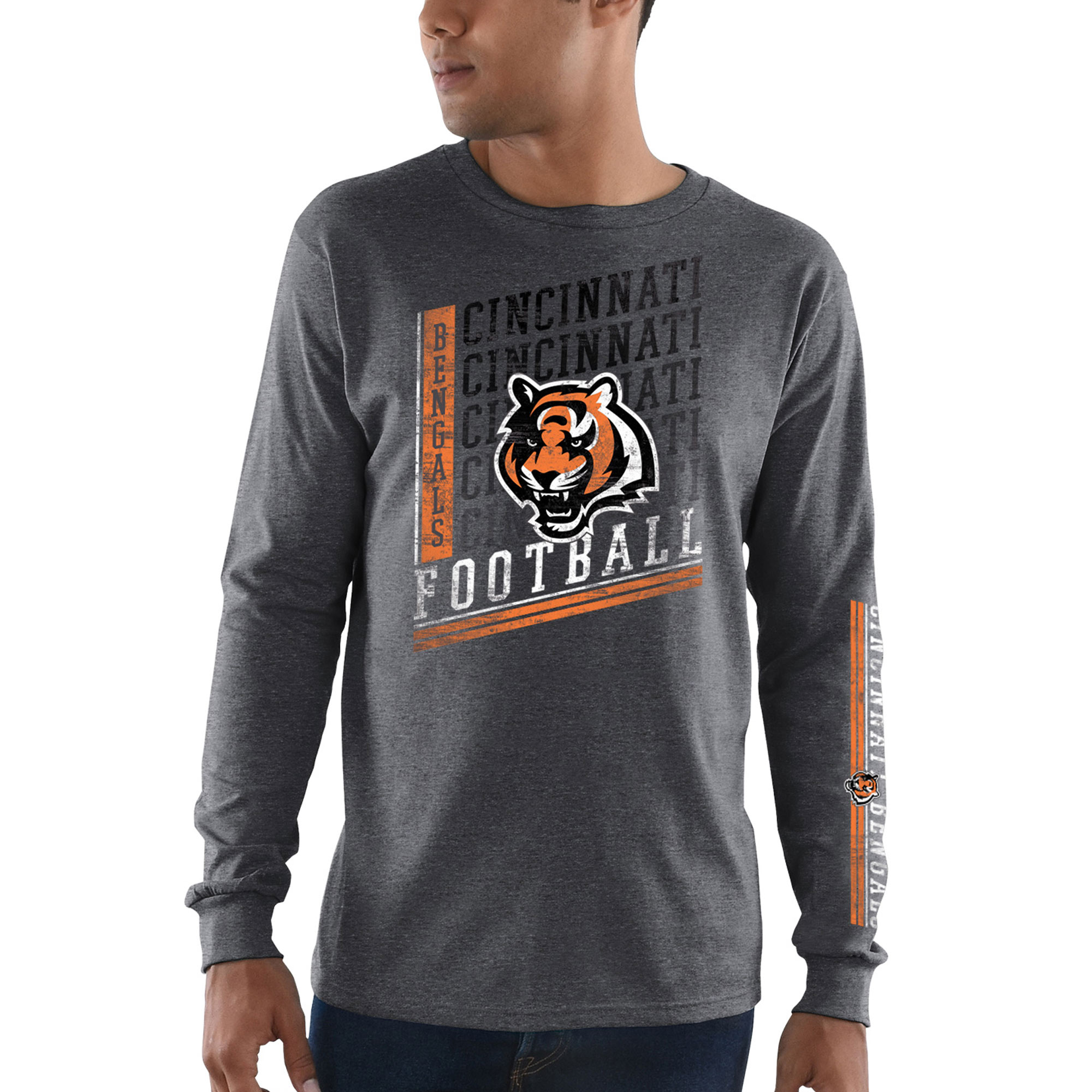 Cincinnati Bengals Majestic Dual Threat Long Sleeve T-Shirt - Heathered Charcoal
