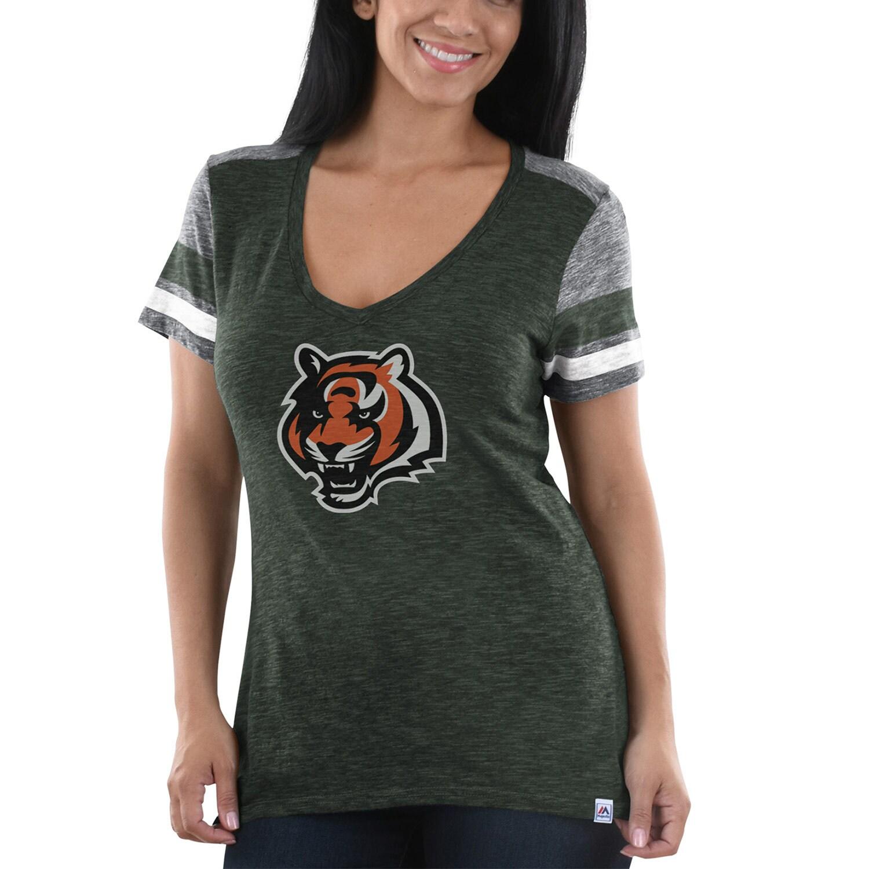 Cincinnati Bengals Majestic Women's Classic Moment T-Shirt - Charcoal/Heathered Gray