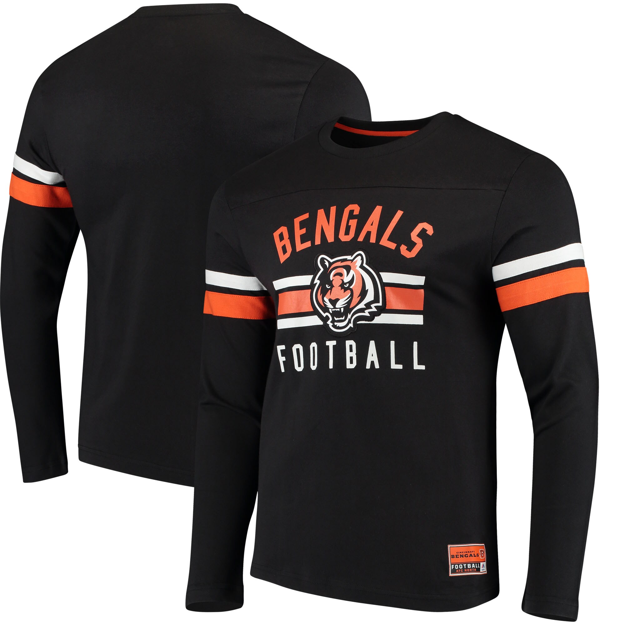 Cincinnati Bengals Majestic Power Hit Wordmark Long Sleeve T-Shirt - Black
