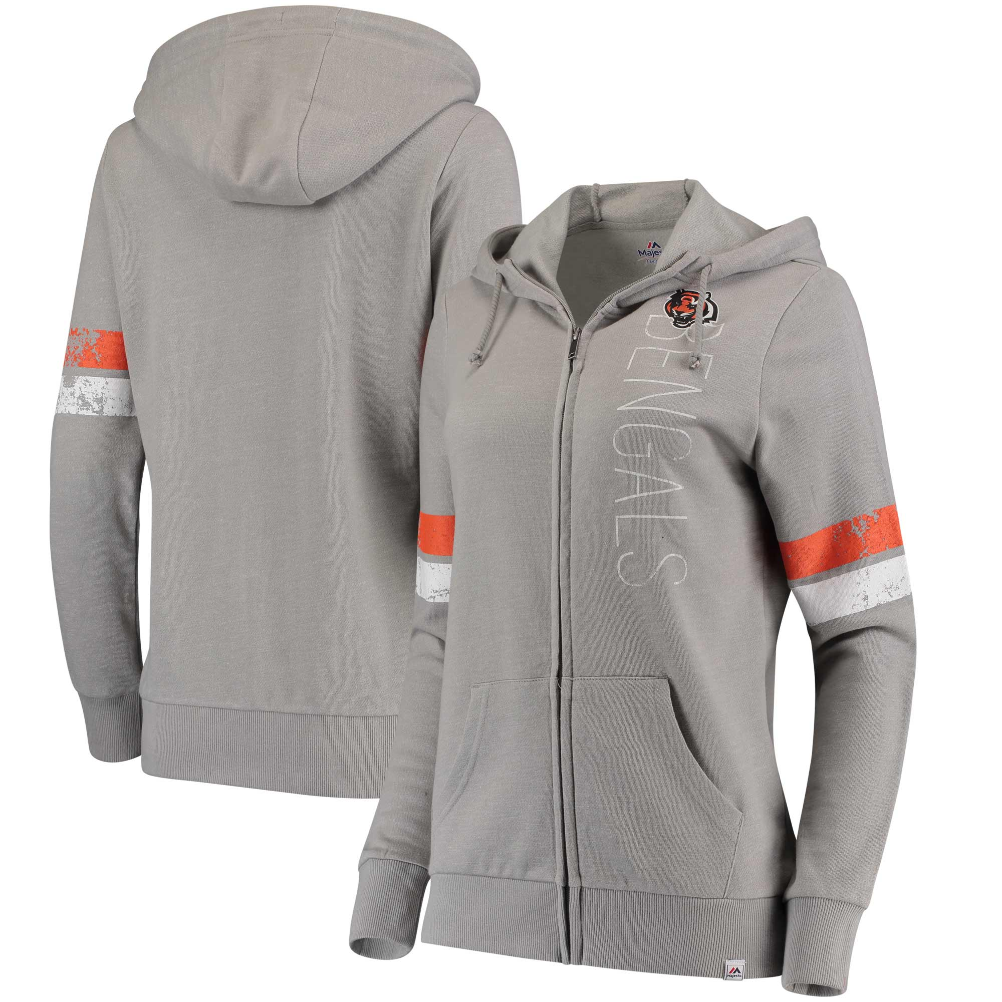 Cincinnati Bengals Majestic Women's Athletic Tradition Full-Zip Hoodie - Heathered Gray