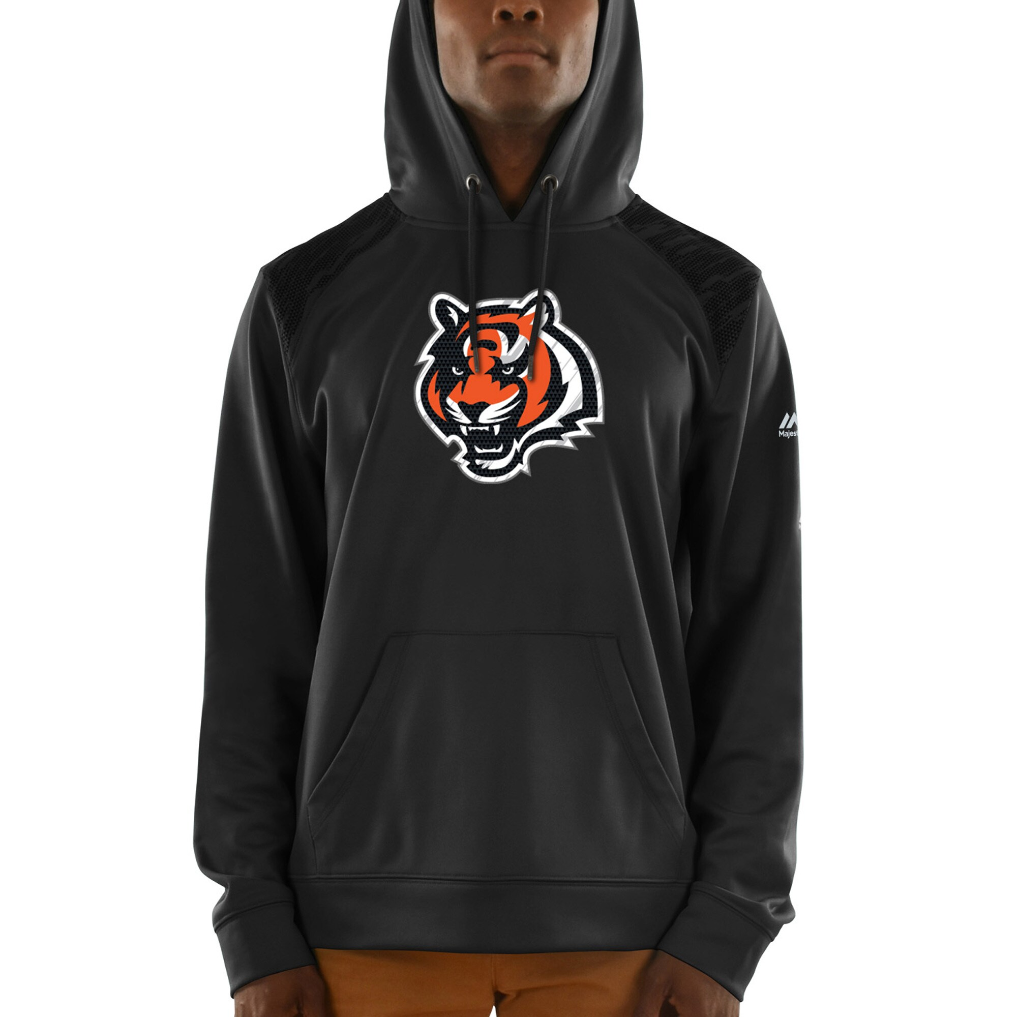 Cincinnati Bengals Majestic Armor Synthetic Pullover Hoodie - Black