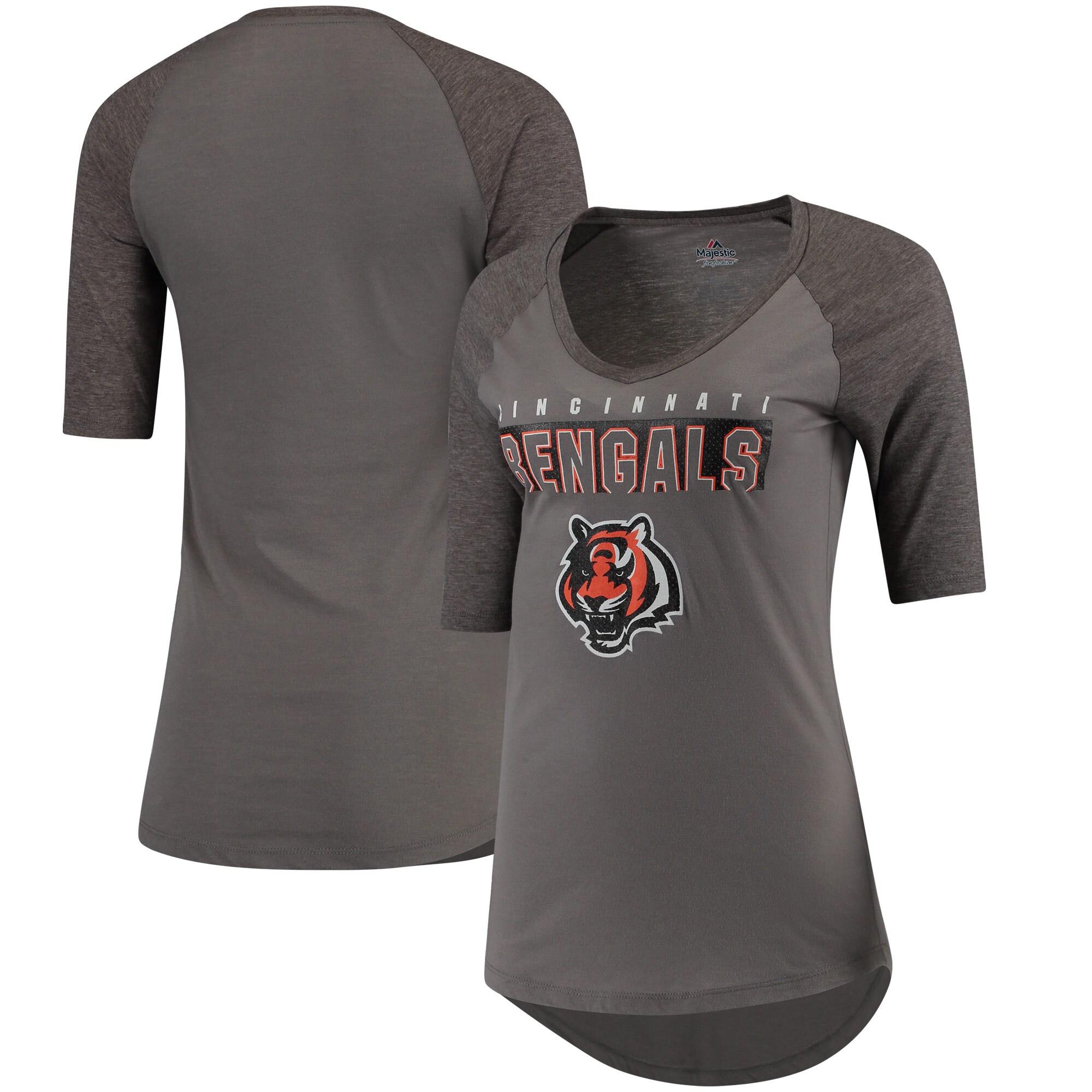 Cincinnati Bengals Majestic Women's My Team Raglan Half-Sleeve T-Shirt - Charcoal/Heathered Gray