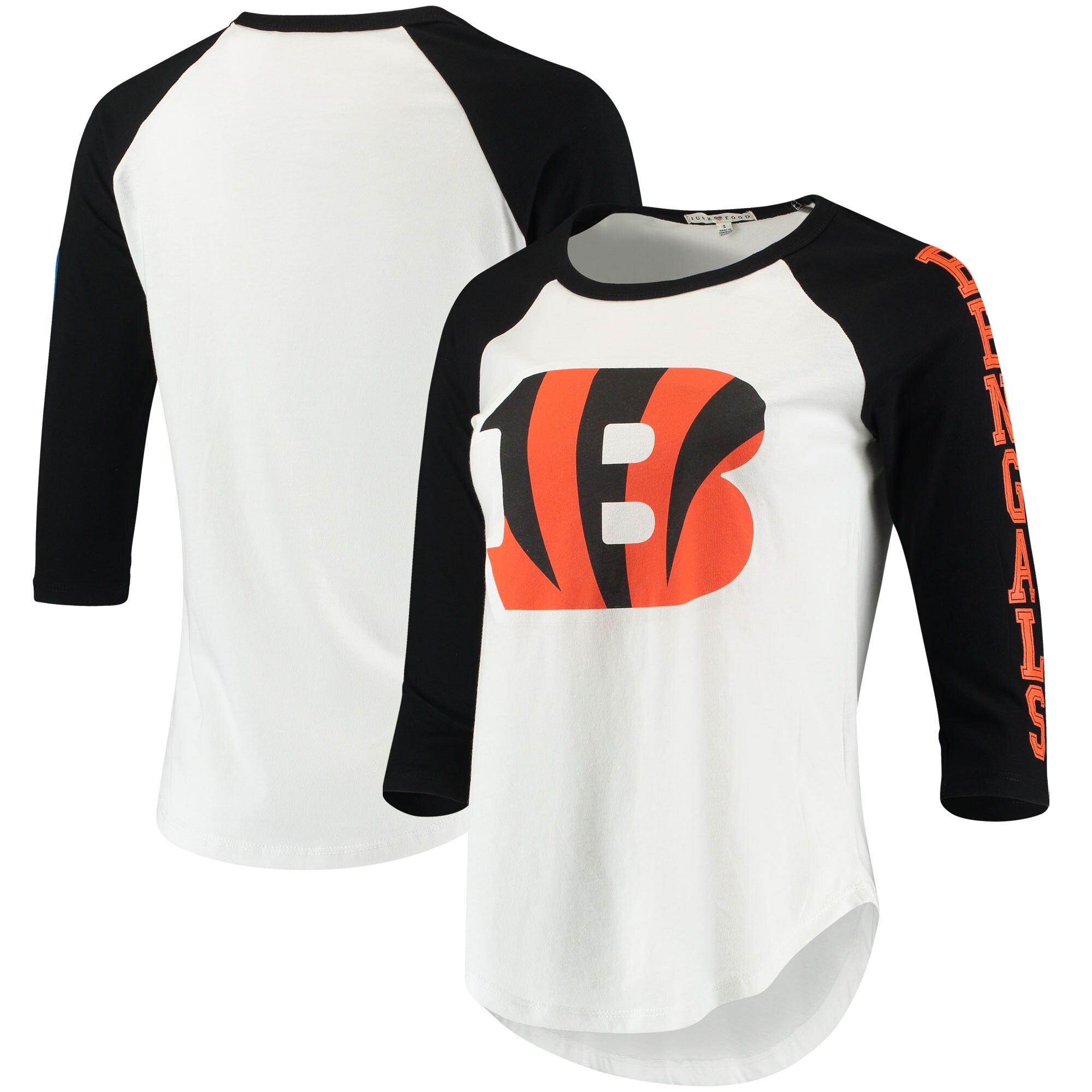 Cincinnati Bengals Junk Food Women's Vintage 3/4-Sleeve Raglan T-Shirt - White/Black
