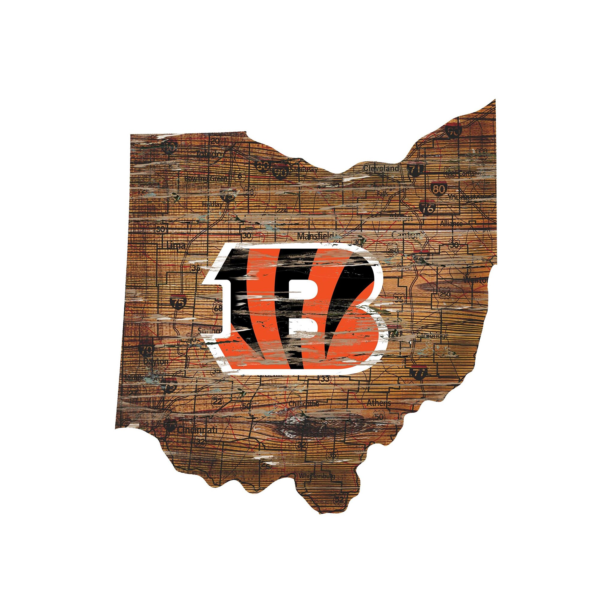 """Cincinnati Bengals 23.5"""" x 23.5"""" Distressed State with Logo Sign"""