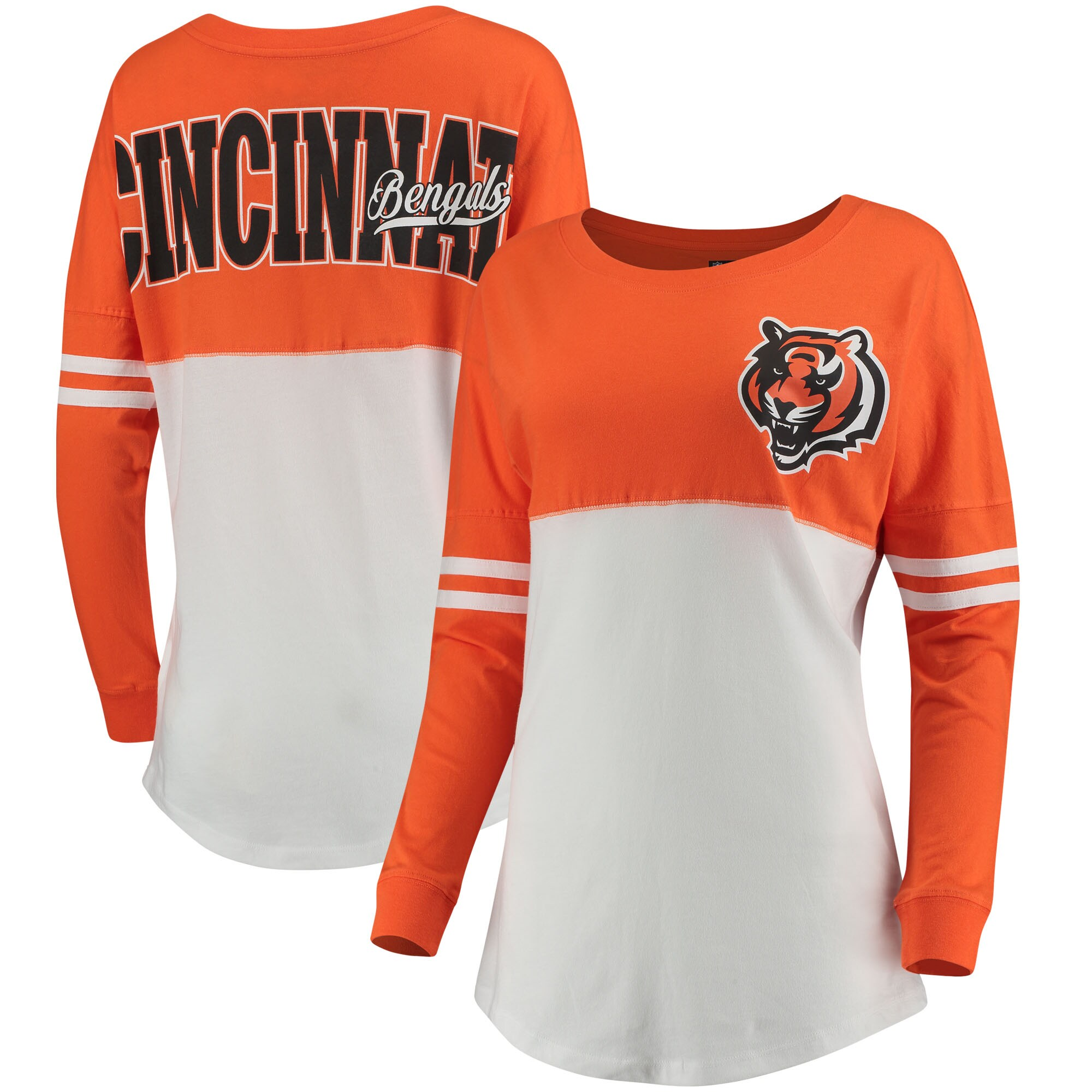 Cincinnati Bengals 5th & Ocean by New Era Women's Team Logo Athletic Varsity Long Sleeve T-Shirt - Orange/White