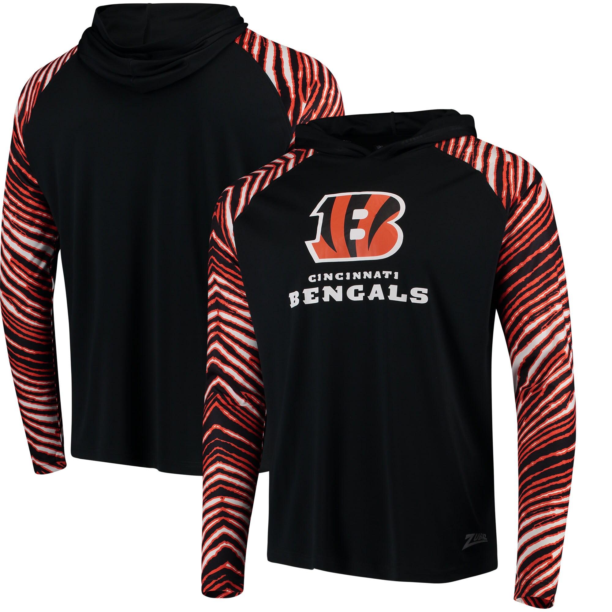 Cincinnati Bengals Zubaz Team Logo Long Sleeve Hoodie T-Shirt - Black/Orange