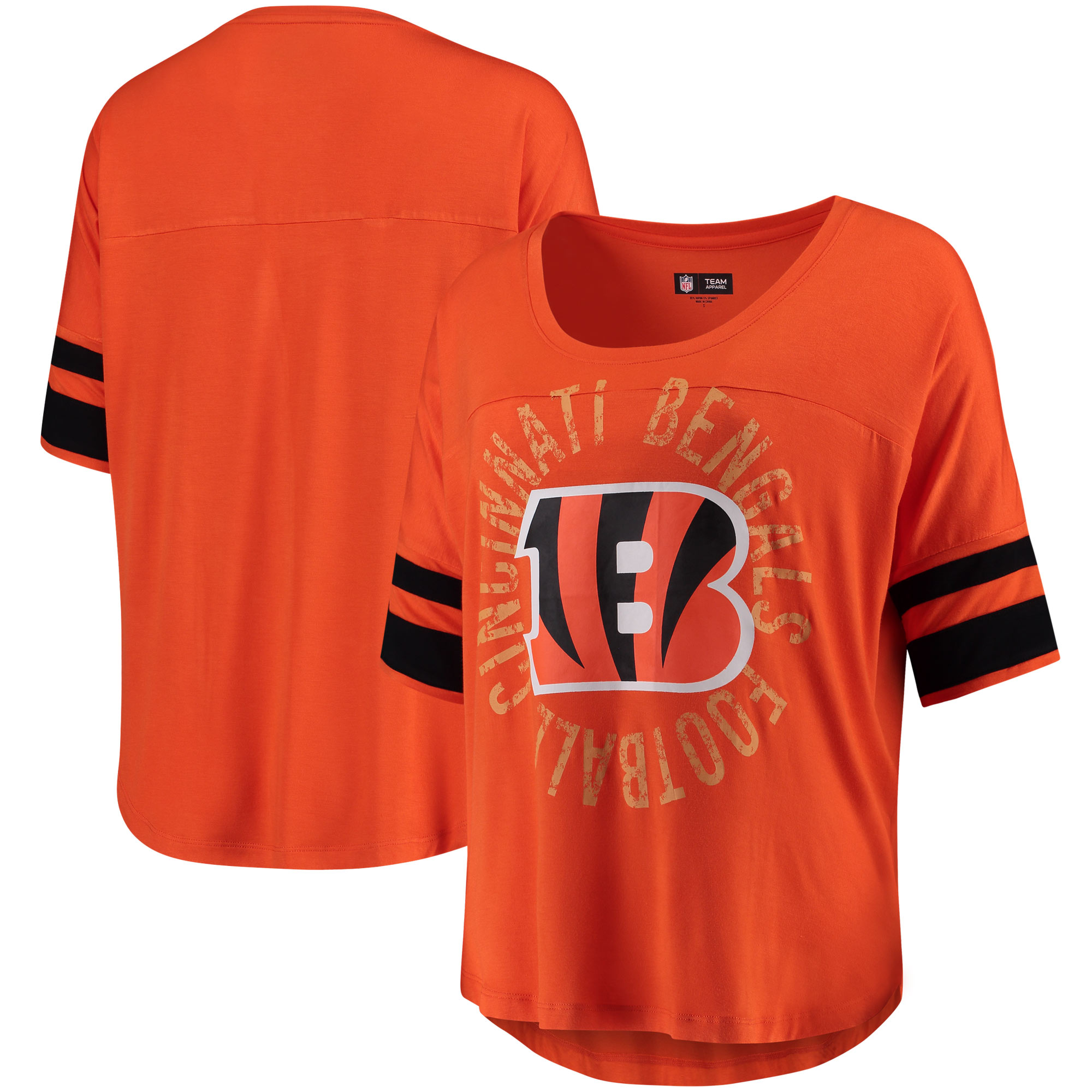 Cincinnati Bengals 5th & Ocean by New Era Women's Novelty Dolman Sleeve Scoop Neck T-Shirt - Orange