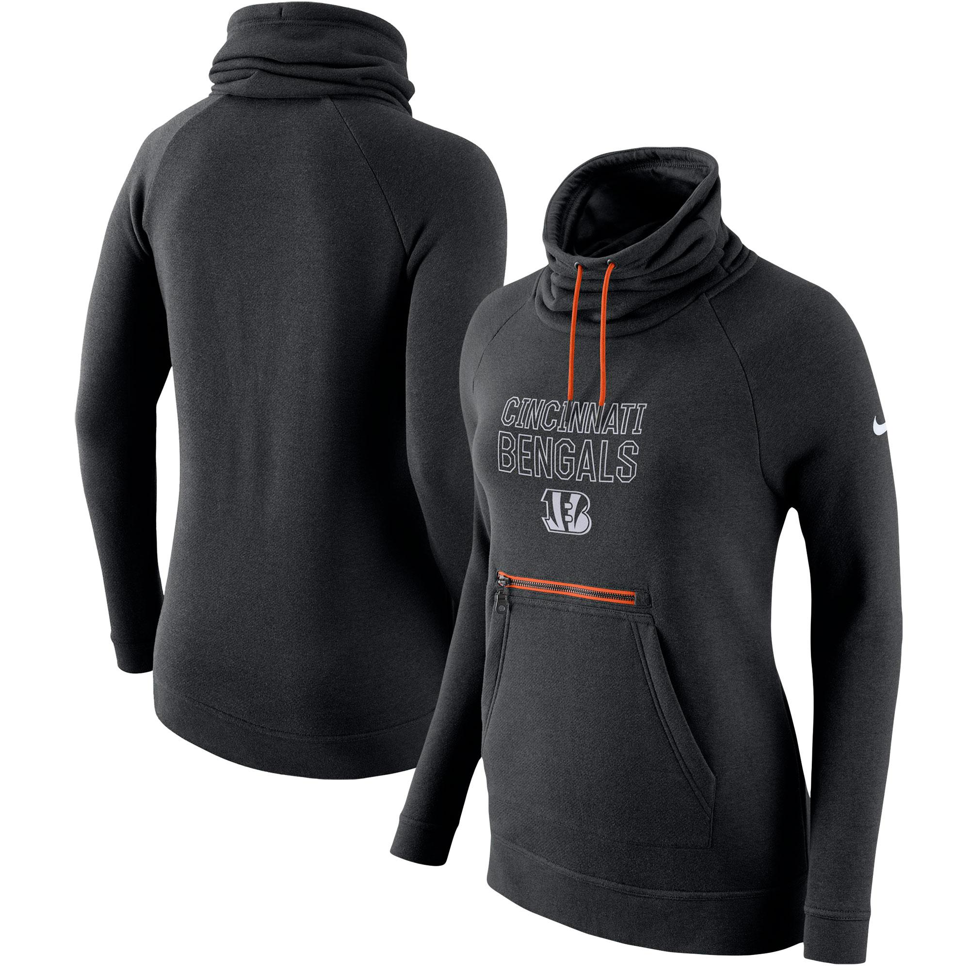 Cincinnati Bengals Nike Women's Tri-Blend Modern Funnel Hoodie - Black