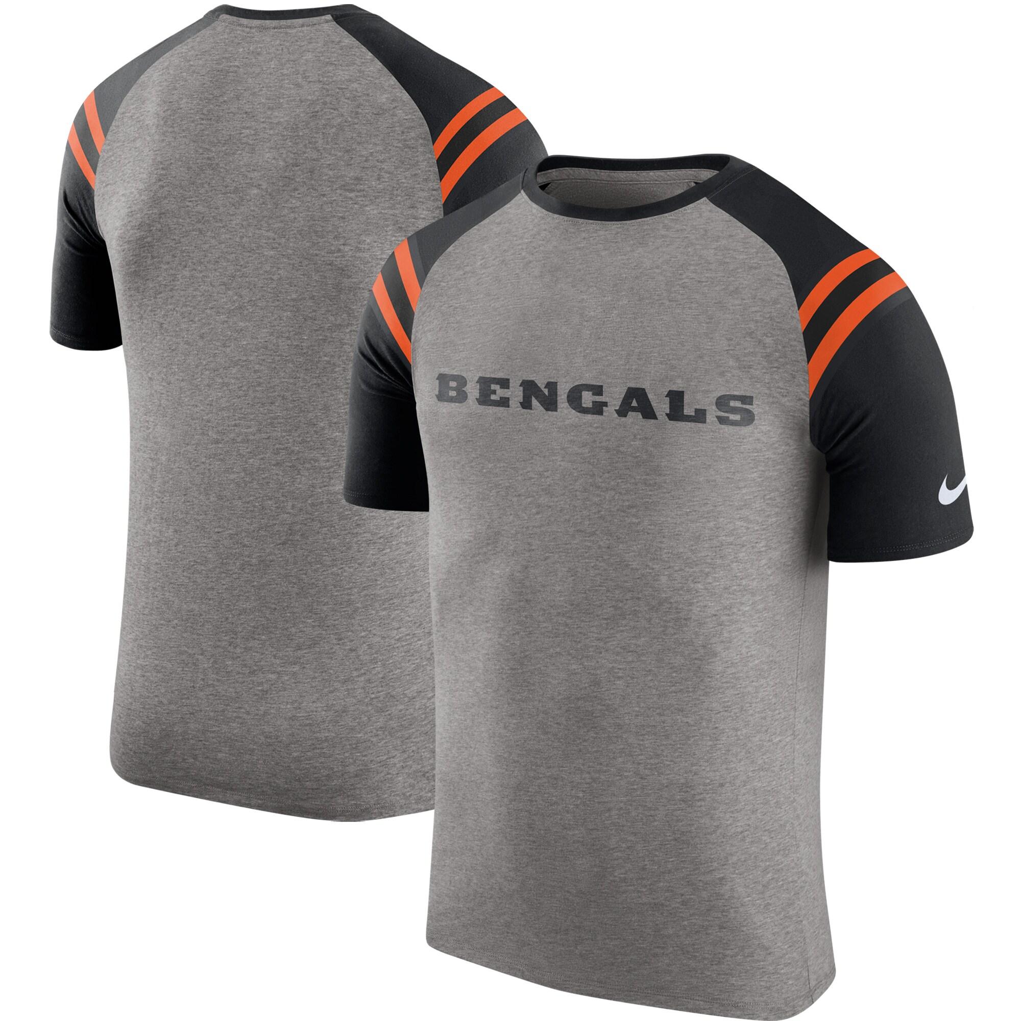 Cincinnati Bengals Nike Enzyme Shoulder Stripe Raglan T-Shirt - Heathered Gray