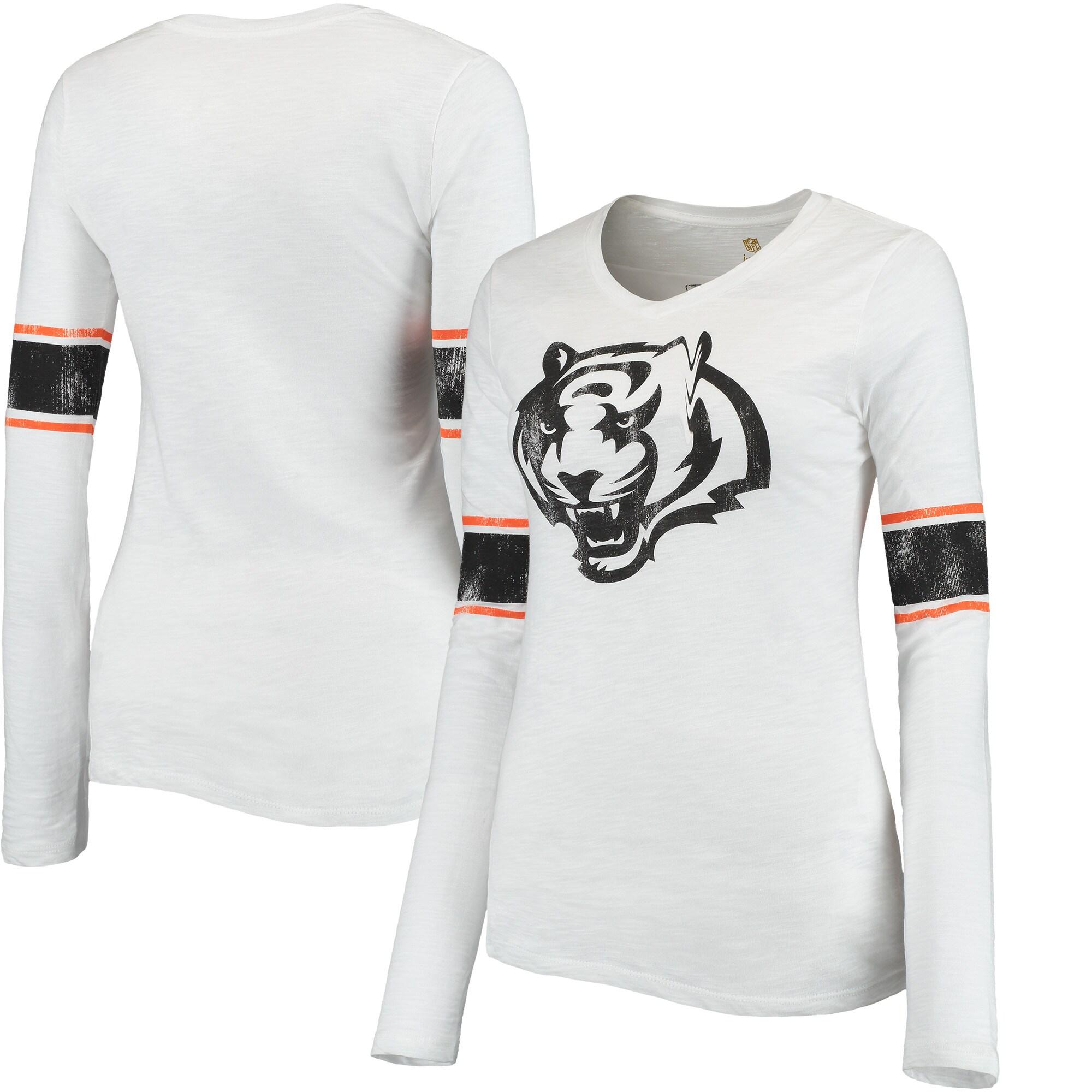 Cincinnati Bengals Juniors Team Leader V-Neck Long Sleeve T-Shirt - White