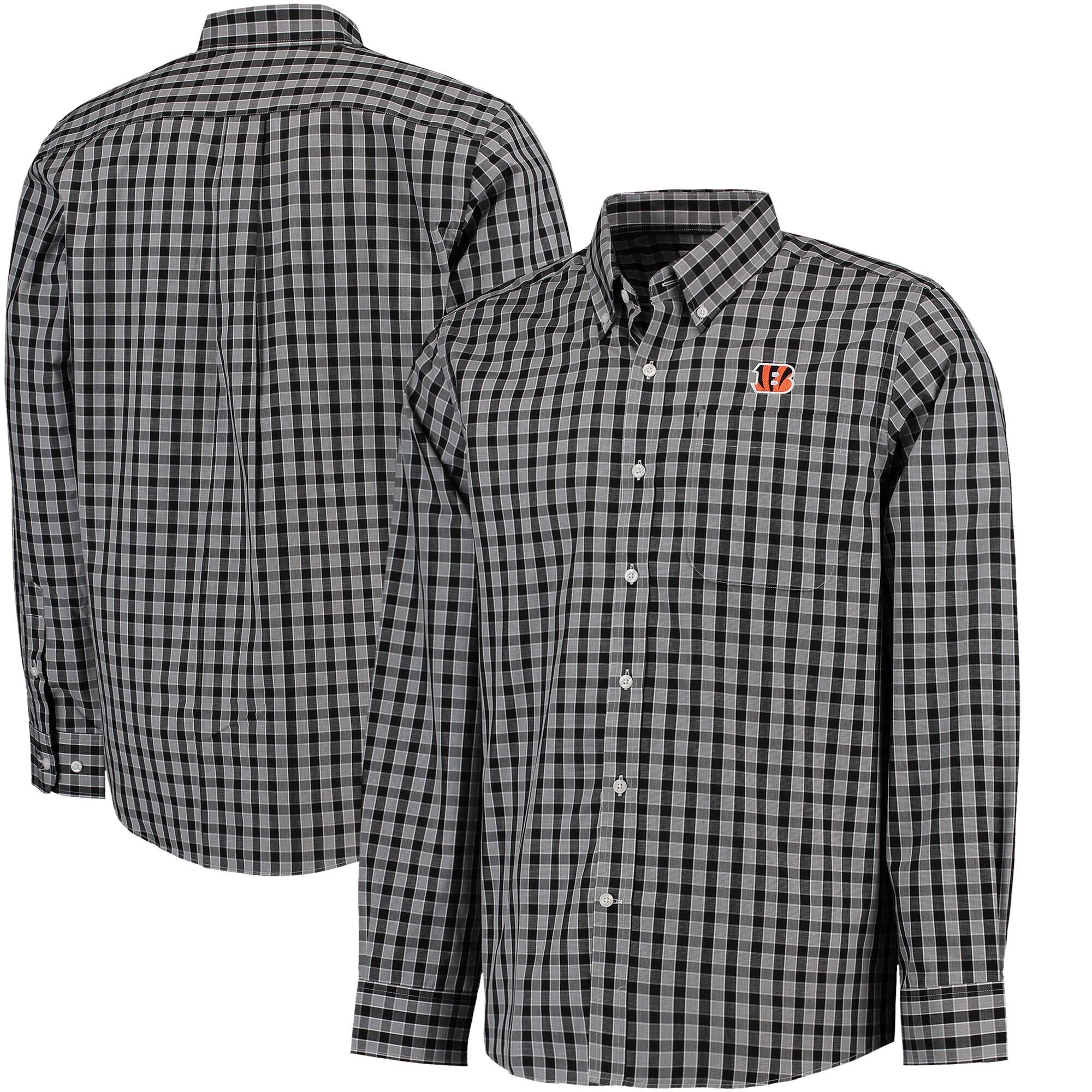 Cincinnati Bengals Cutter & Buck Discovery Park Plaid Long Sleeve Woven Shirt - Black