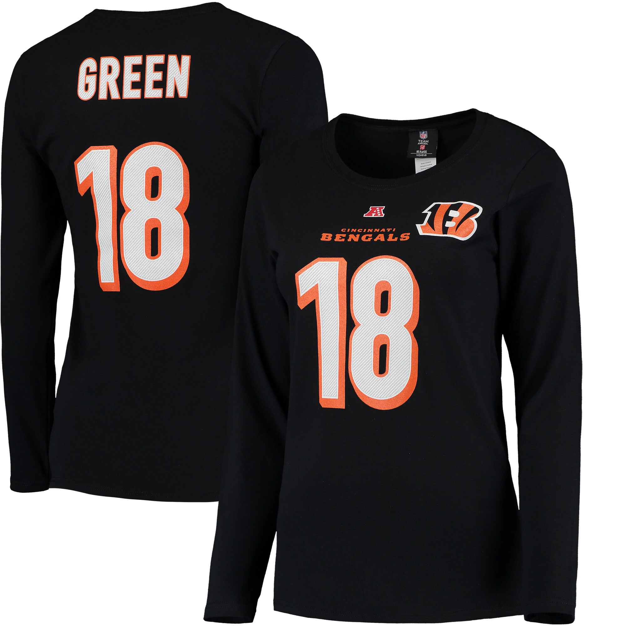 A.J. Green Cincinnati Bengals Majestic Women's Plus Size Her Catch Player Name & Number Long Sleeve T-Shirt - Black