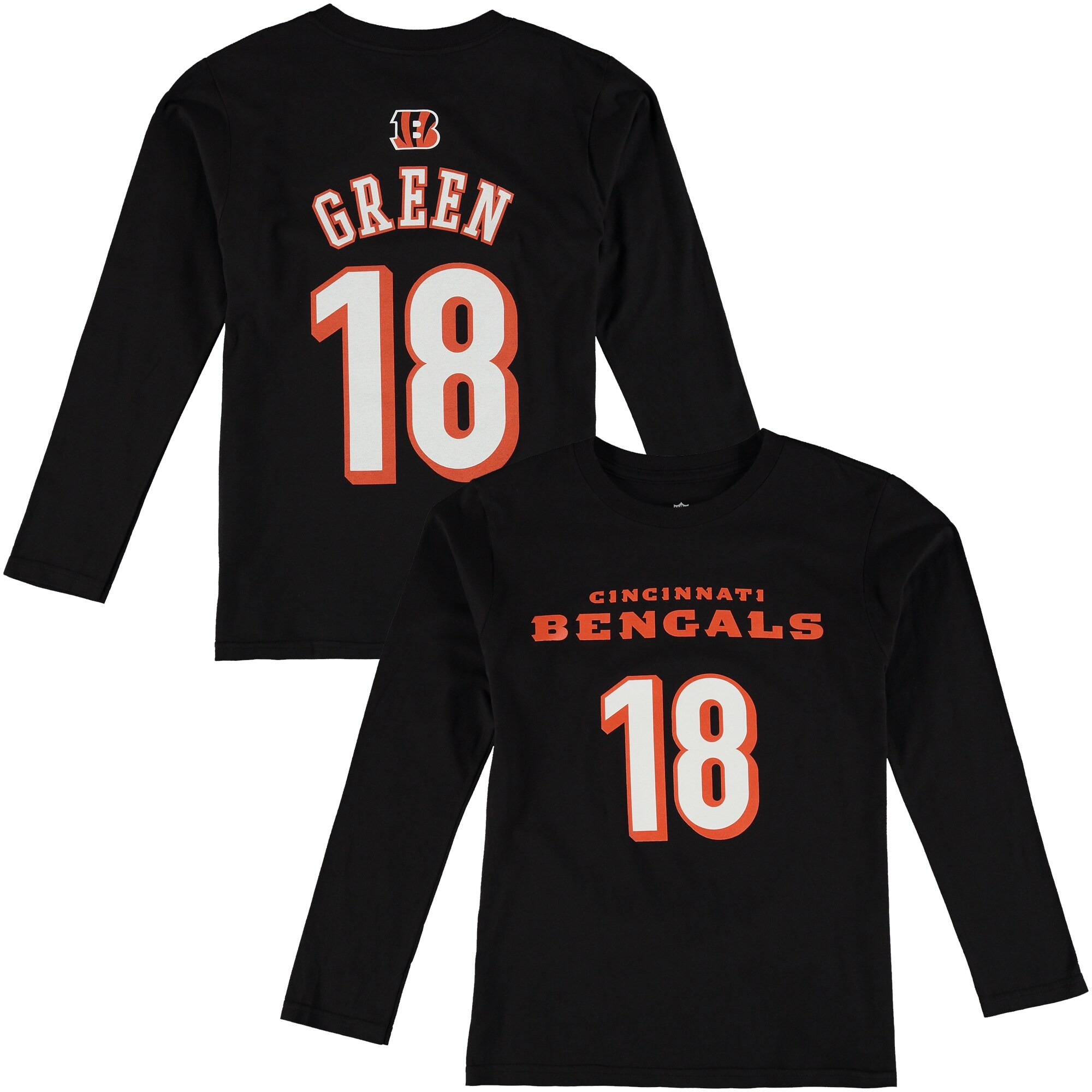 AJ Green Cincinnati Bengals Youth Player Name & Number Long Sleeve Shirt - Black