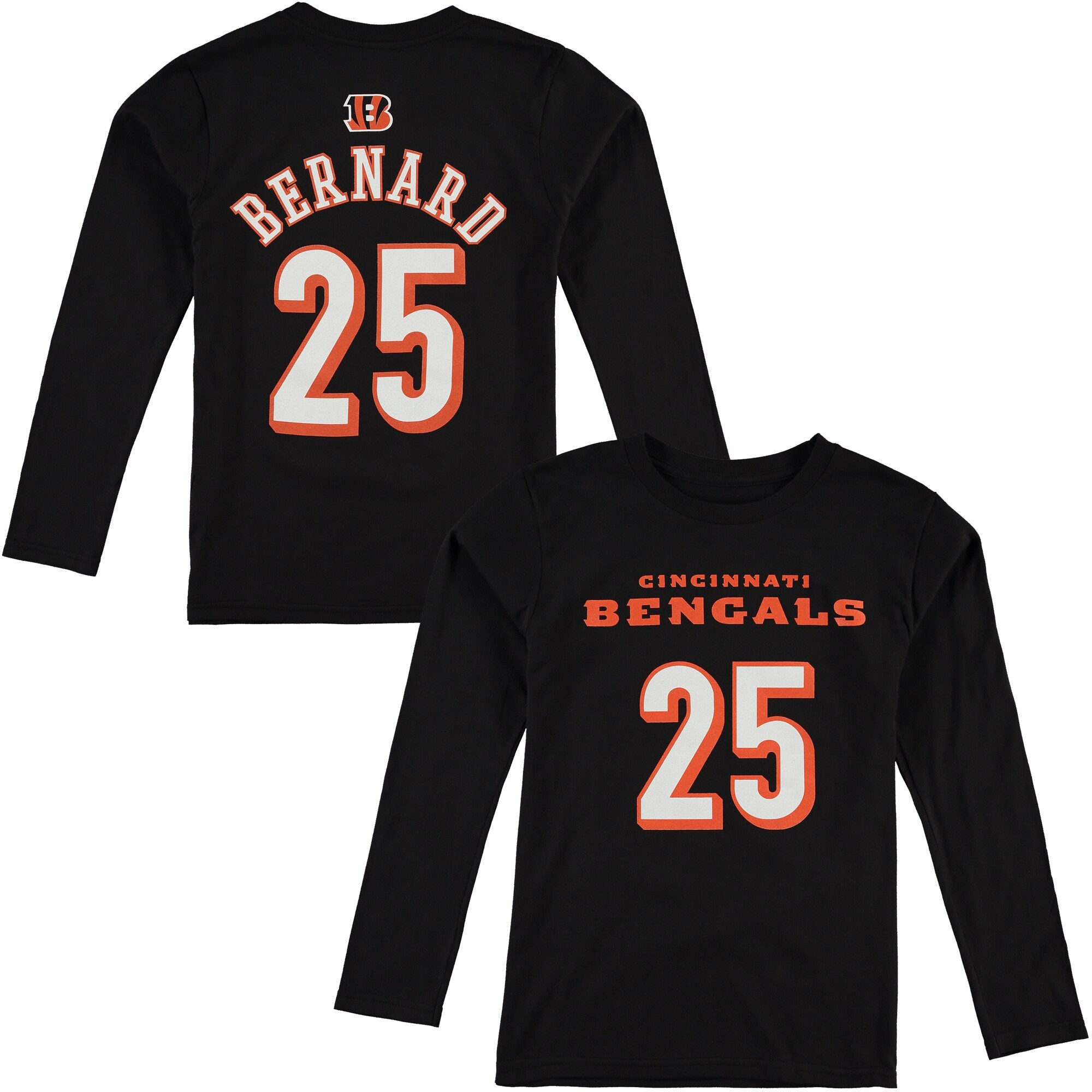 Giovani Bernard Cincinnati Bengals Youth Player Name & Number Long Sleeve Shirt - Black