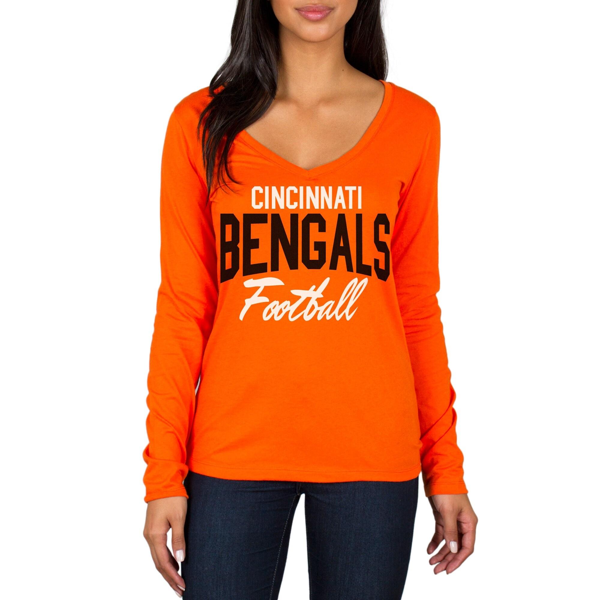 Cincinnati Bengals Women's Direct Snap V-Neck Long Sleeve T-Shirt - Orange