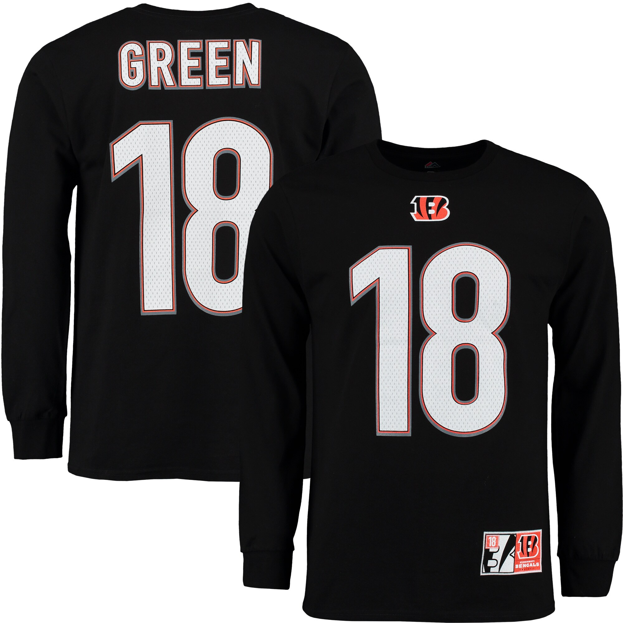 A.J. Green Cincinnati Bengals Eligible Receiver II Name and Number Long Sleeve T-Shirt - Black