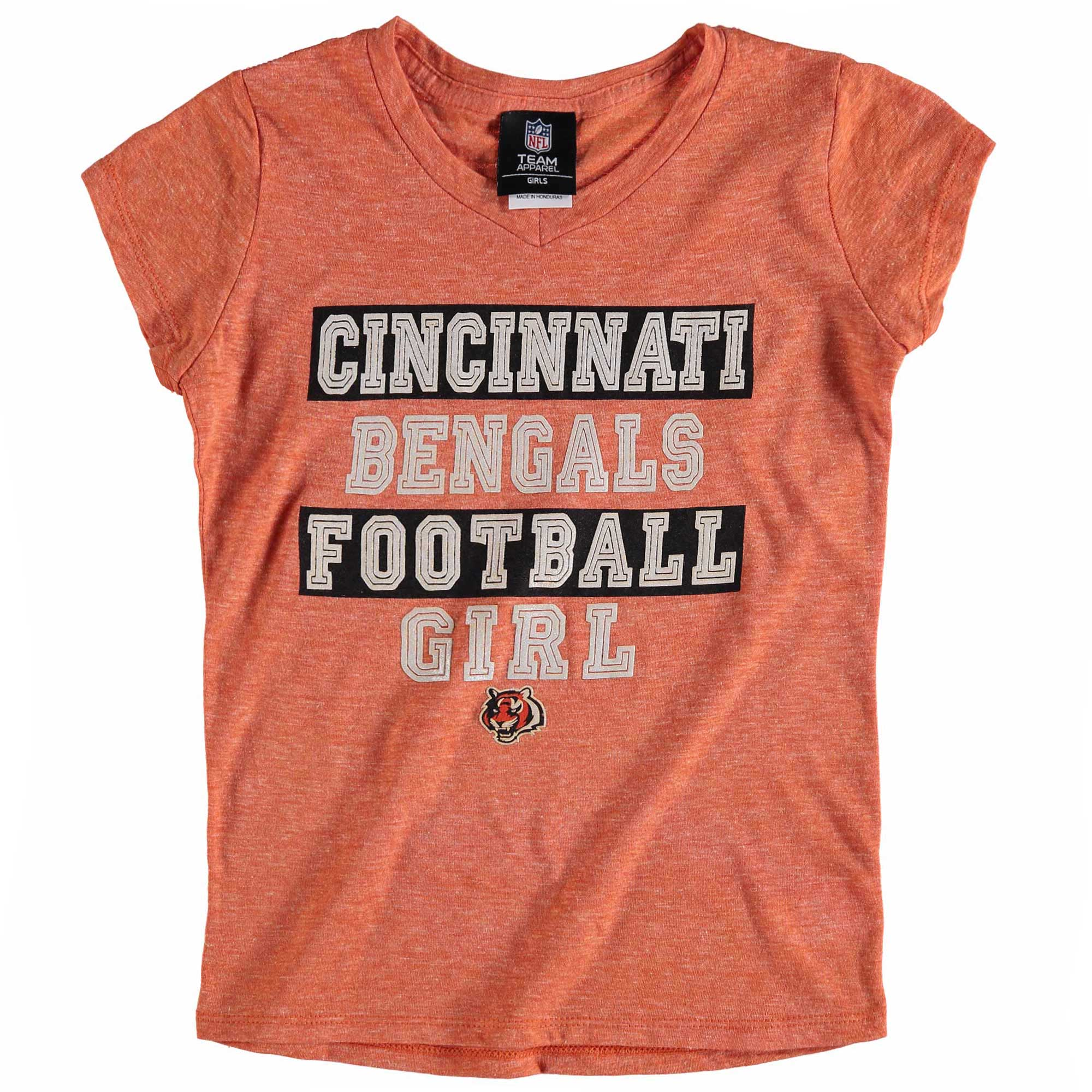 Cincinnati Bengals 5th & Ocean by New Era Girls Youth Football Girl Tri-Blend V-Neck T-Shirt - Orange