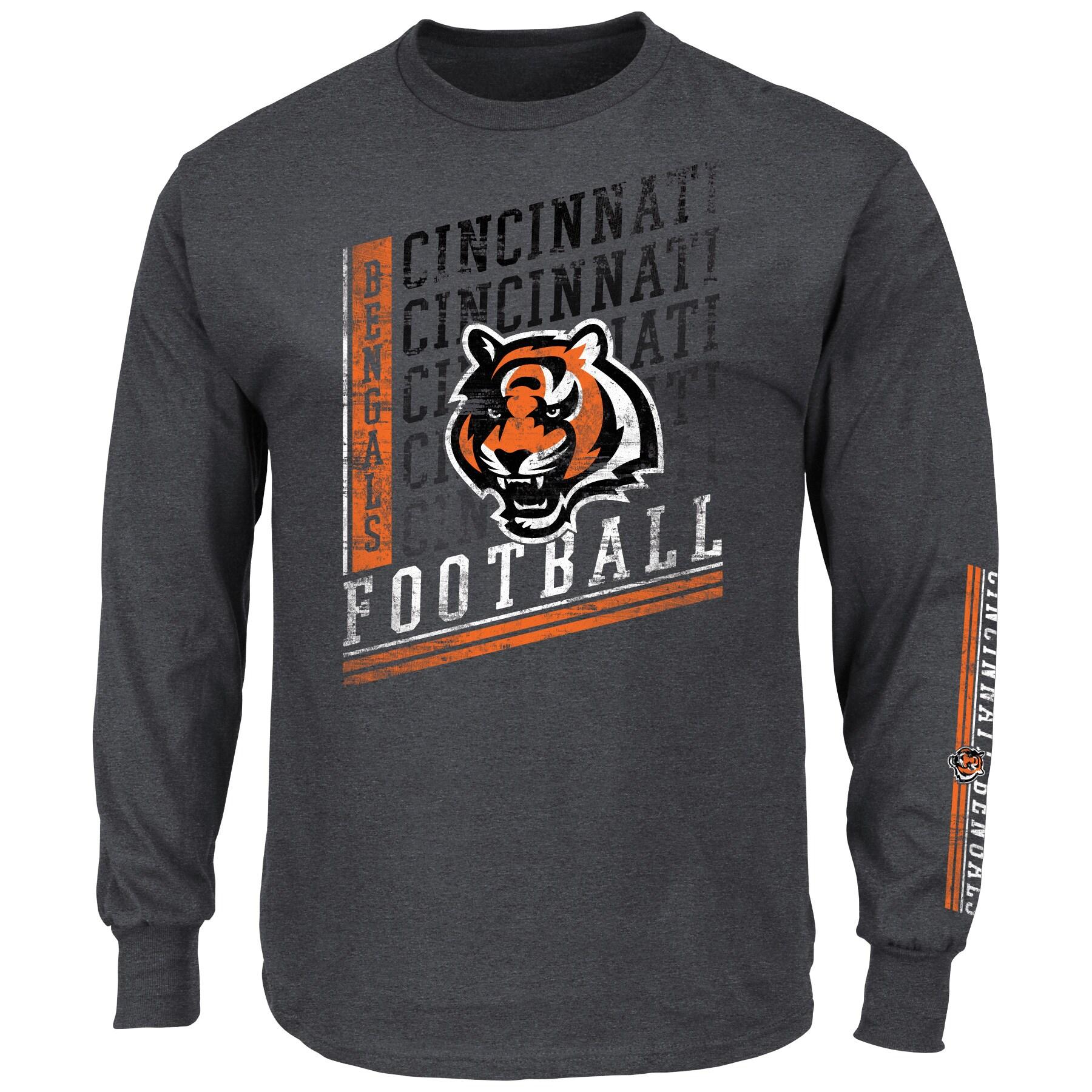 Cincinnati Bengals Majestic Big & Tall Dual Threat Long Sleeve T-Shirt - Charcoal