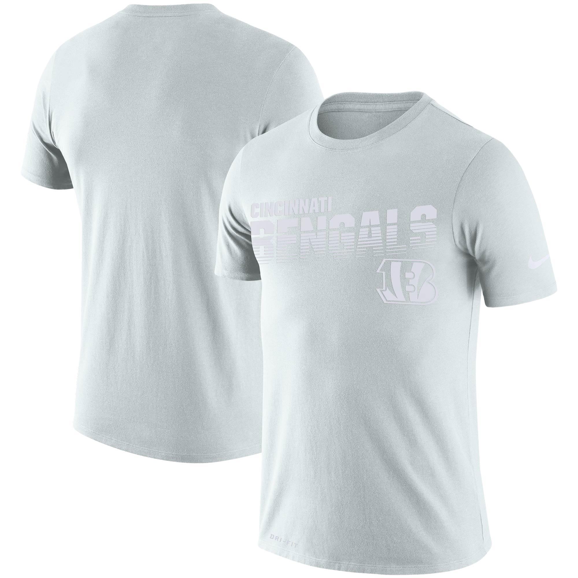 Cincinnati Bengals Nike NFL 100 2019 Sideline Platinum Performance T-Shirt - White