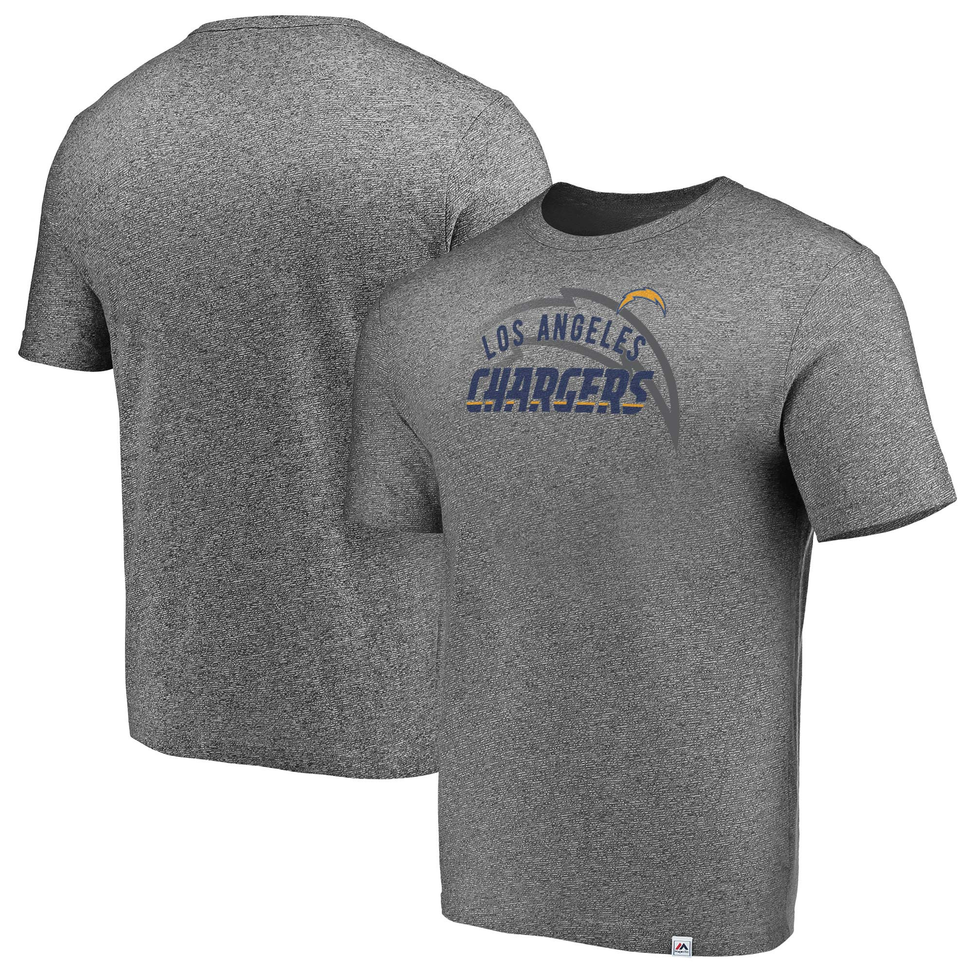 Los Angeles Chargers Majestic Static Fade Marled T-Shirt - Heathered Gray