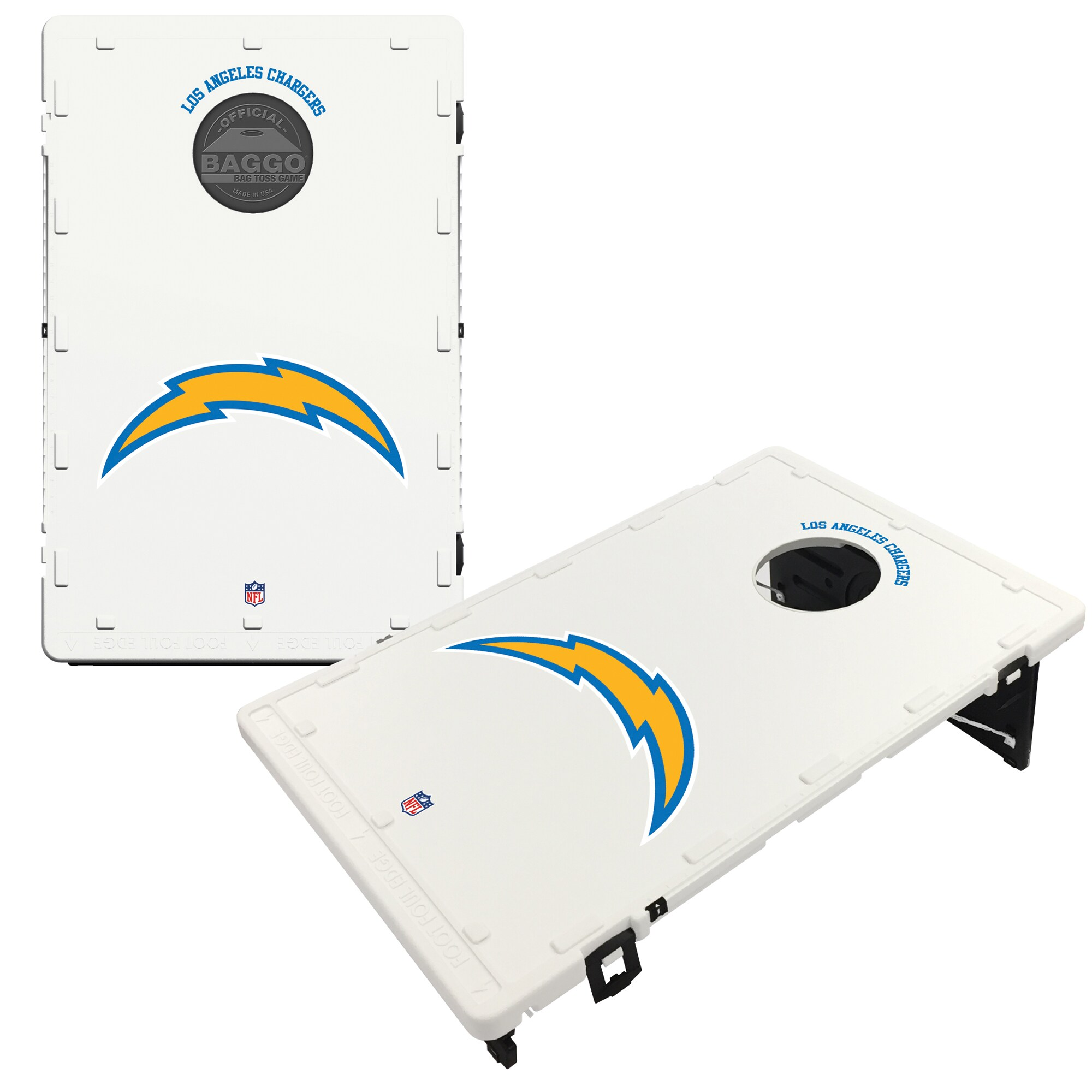 Los Angeles Chargers 2' x 3' Classic Design BAGGO Cornhole Board Tailgate Toss Set