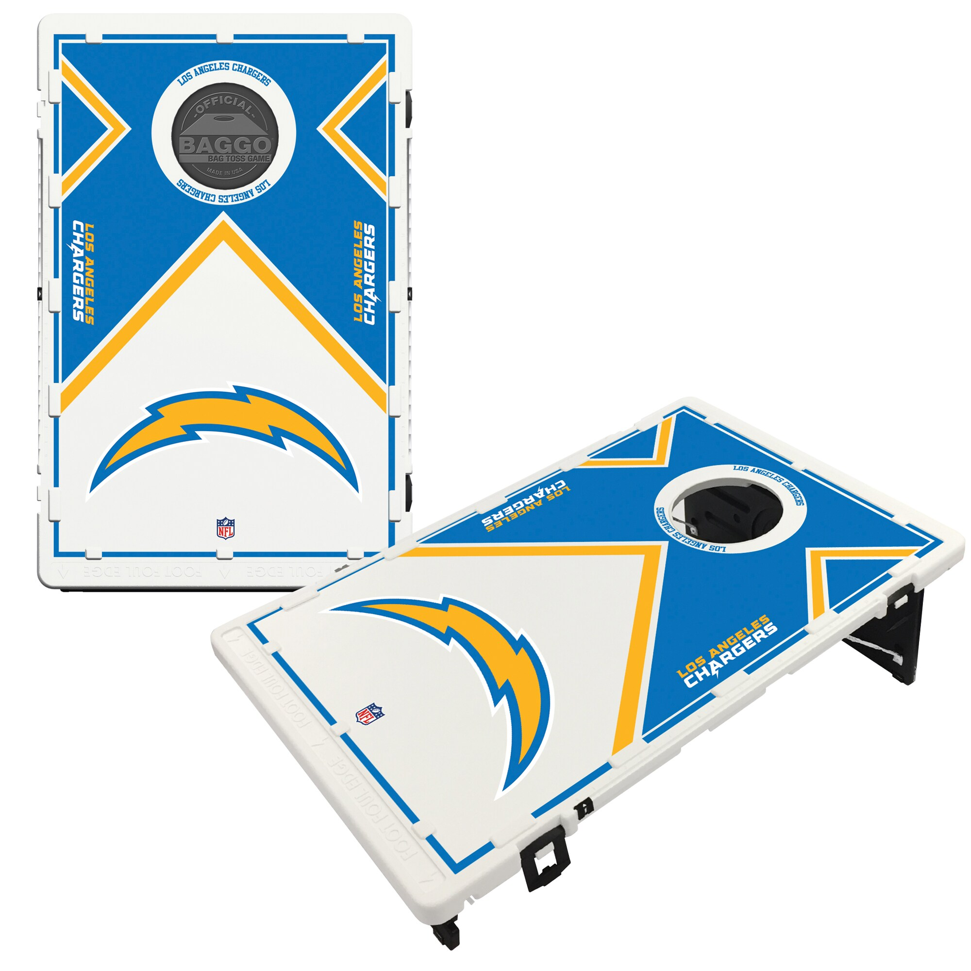 Los Angeles Chargers 2' x 3' BAGGO Vintage Cornhole Board Tailgate Toss Set