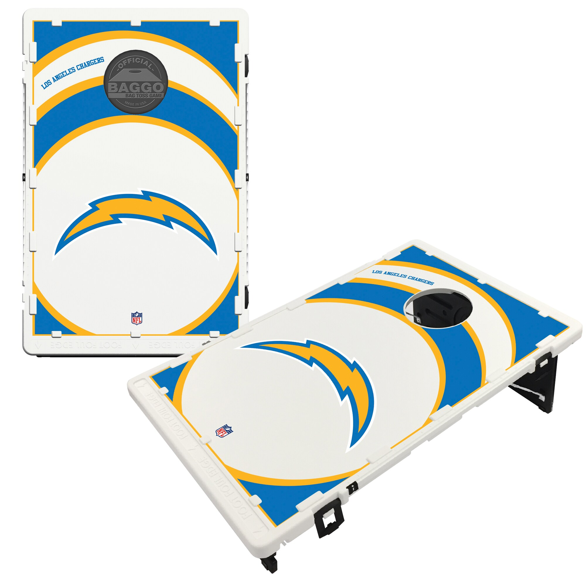 Los Angeles Chargers 2' x 3' BAGGO Vortex Cornhole Board Tailgate Toss Set
