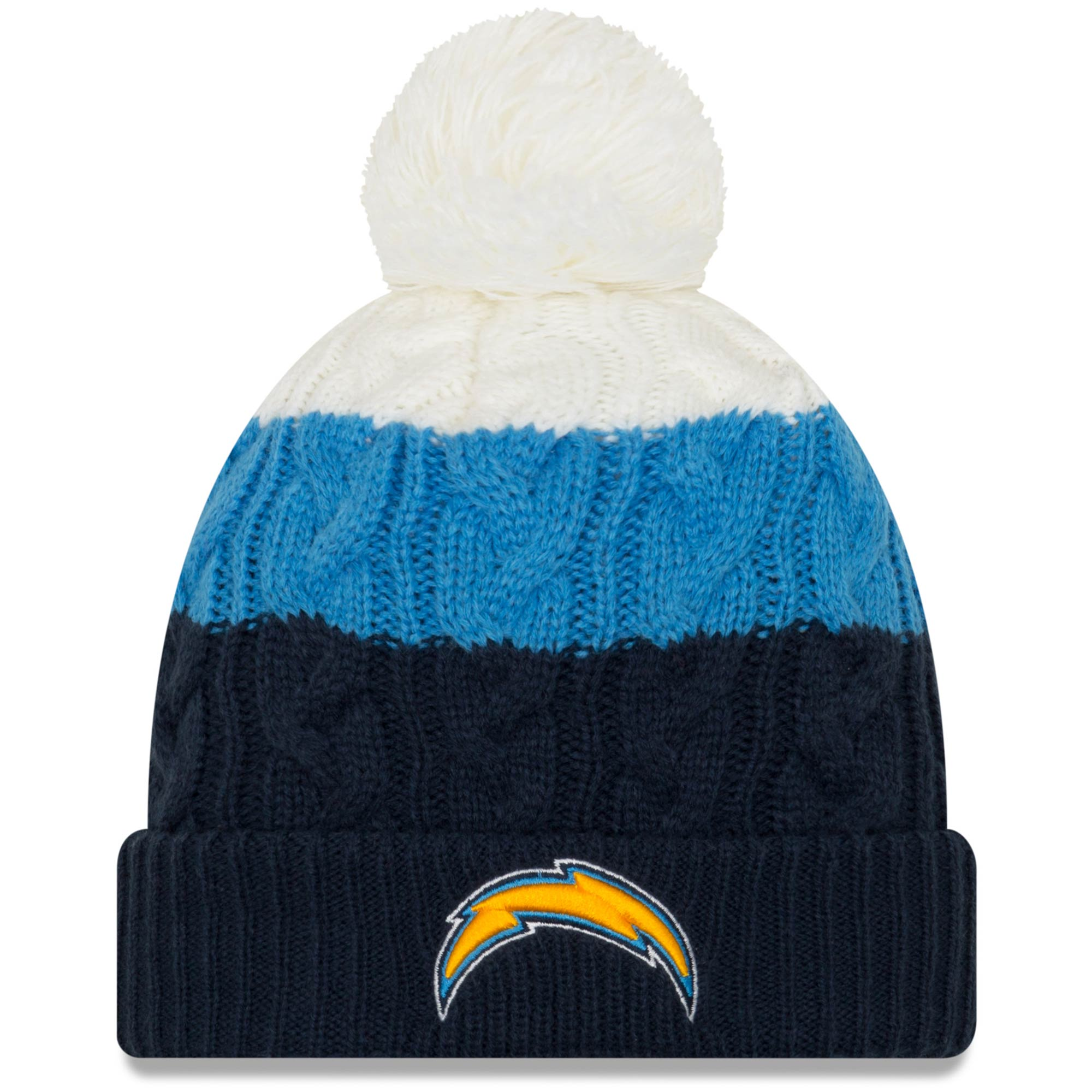 Los Angeles Chargers New Era Women's Layered Up 2 Cuffed Knit Hat with Pom - White/Navy