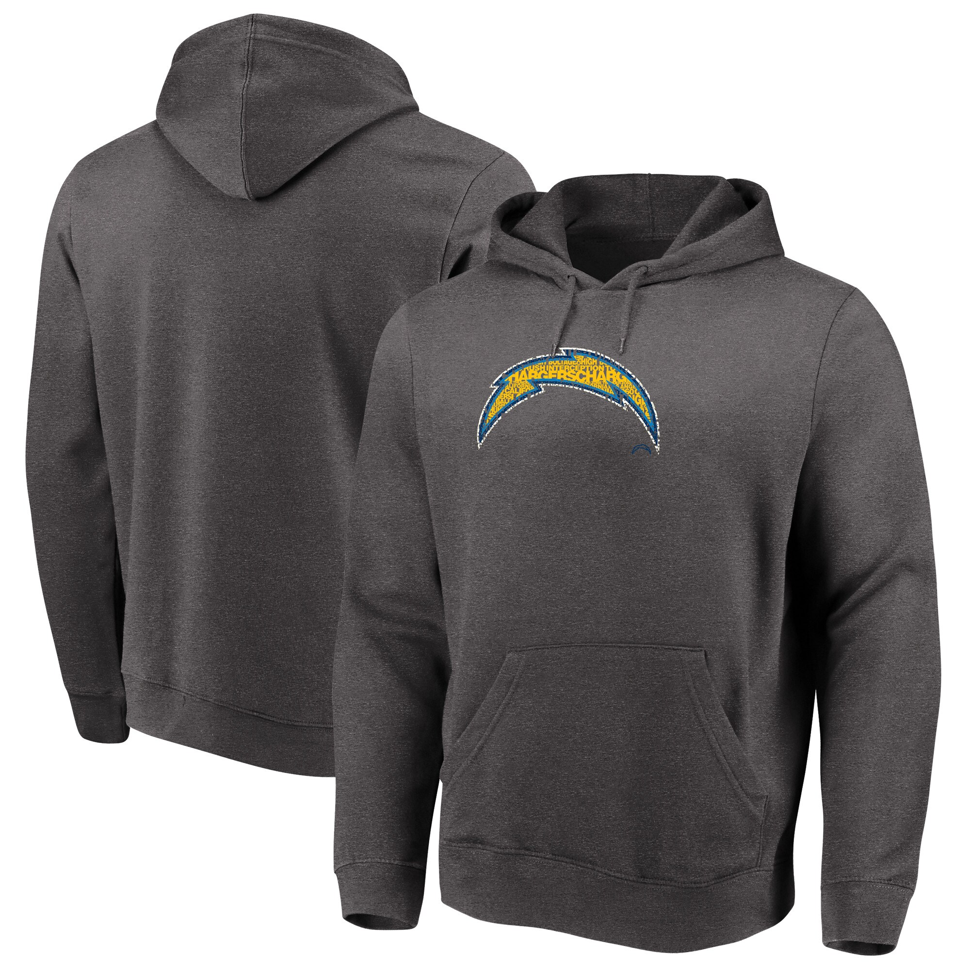 Los Angeles Chargers Majestic Big & Tall Line of Scrimmage Pullover Hoodie - Heathered Charcoal