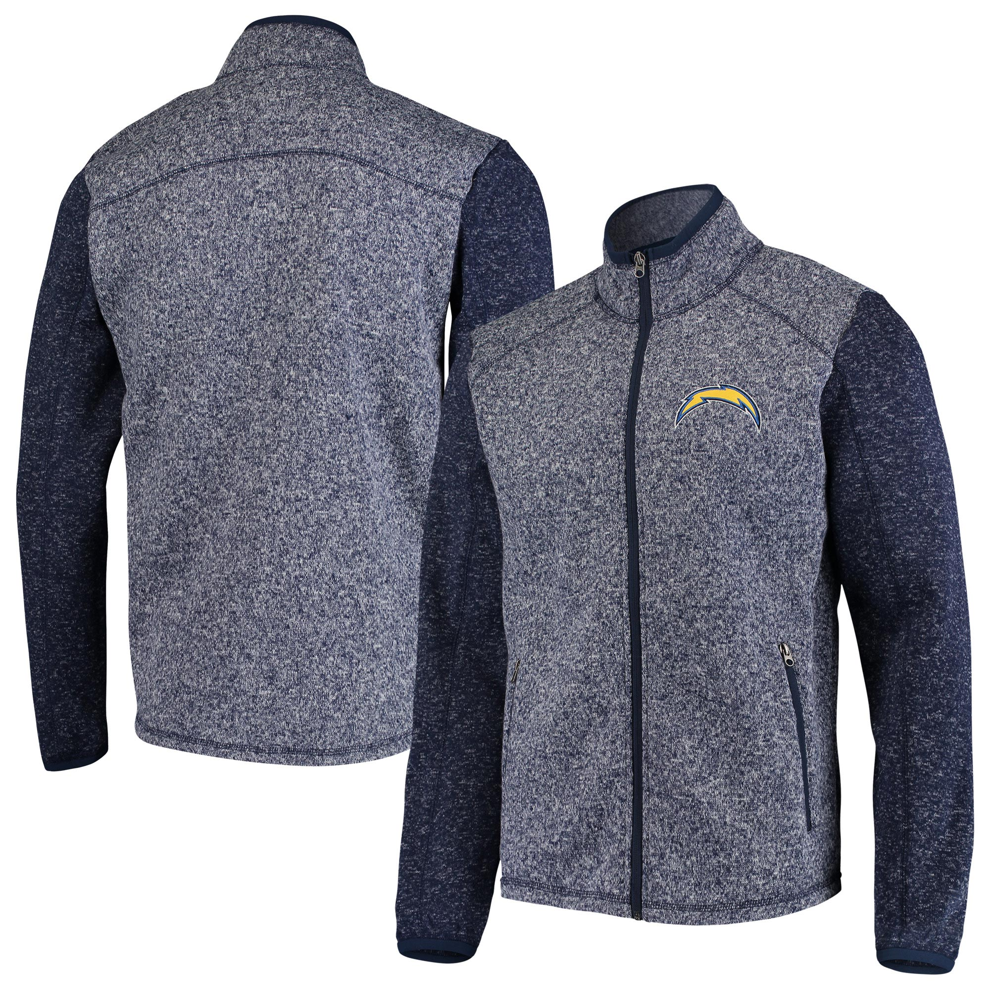 Los Angeles Chargers G-III Sports by Carl Banks Alpine Zone Sweater Fleece Full-Zip Jacket - Heathered Navy