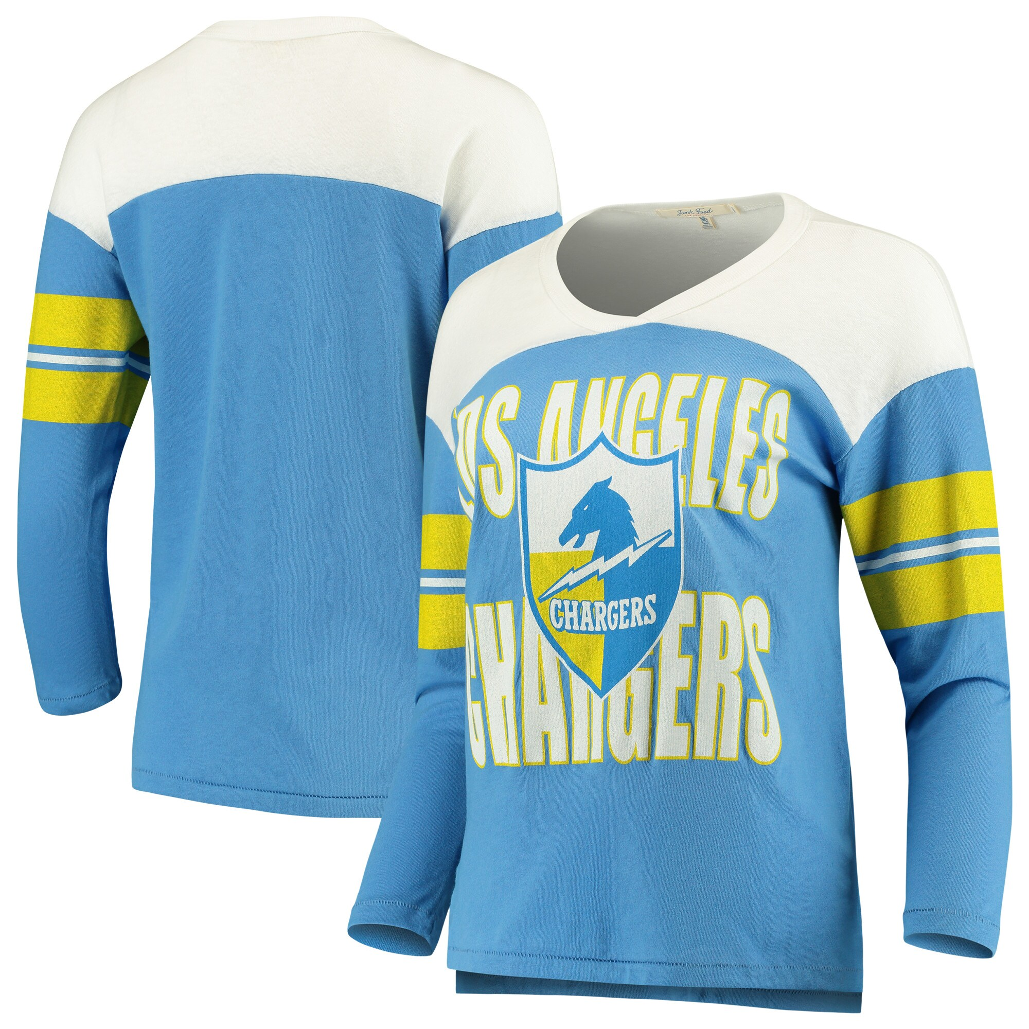 Los Angeles Chargers Junk Food Women's Throwback Football Long Sleeve T-Shirt - Powder Blue/White