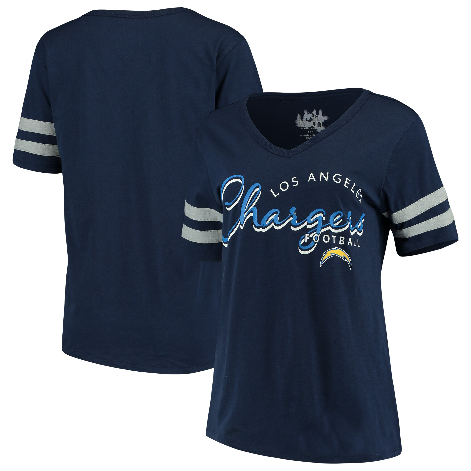 Los Angeles Chargers Touch by Alyssa Milano Women's Triple Play V-Neck T-Shirt - Navy
