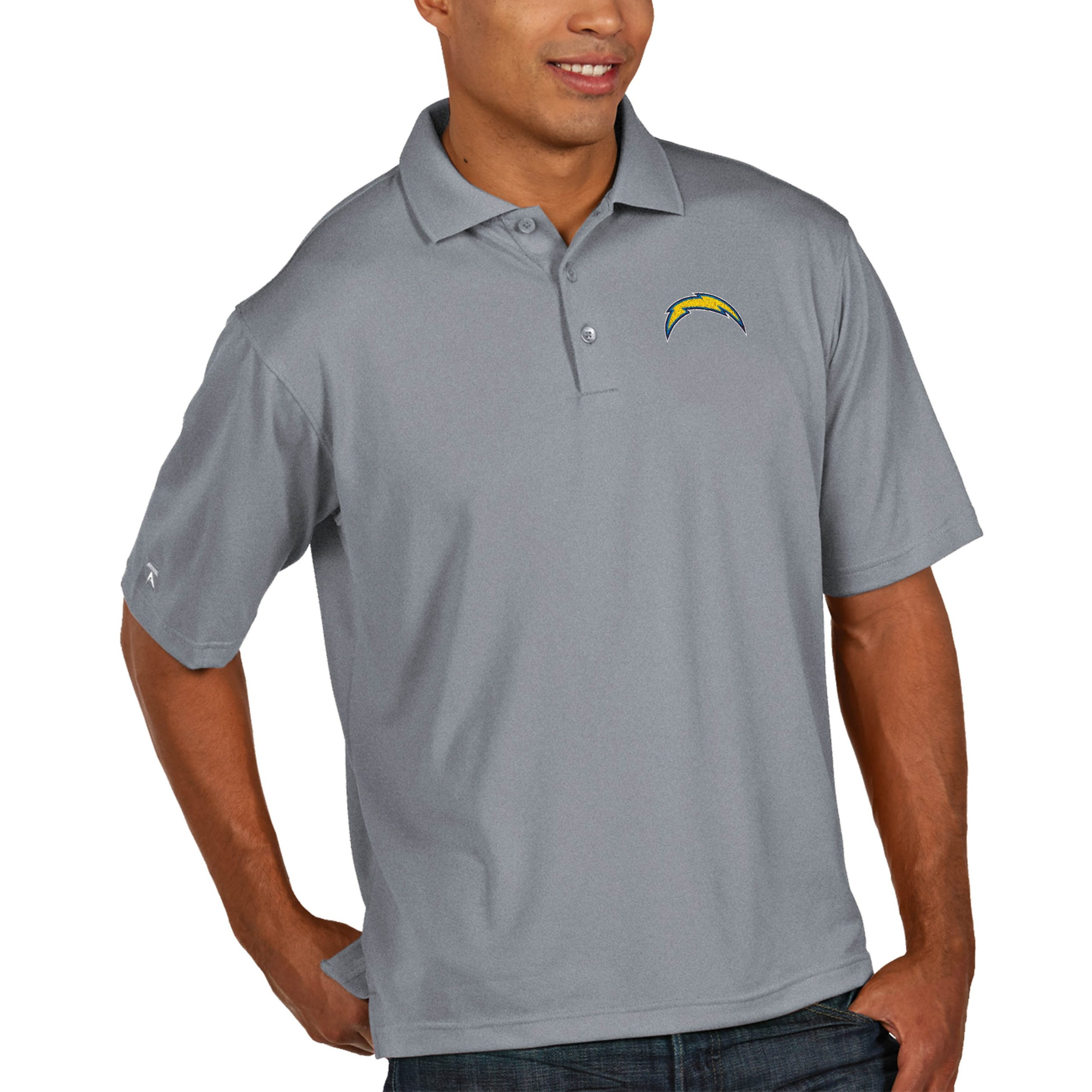Los Angeles Chargers Antigua Pique Xtra Lite Big & Tall Polo - Heather Gray