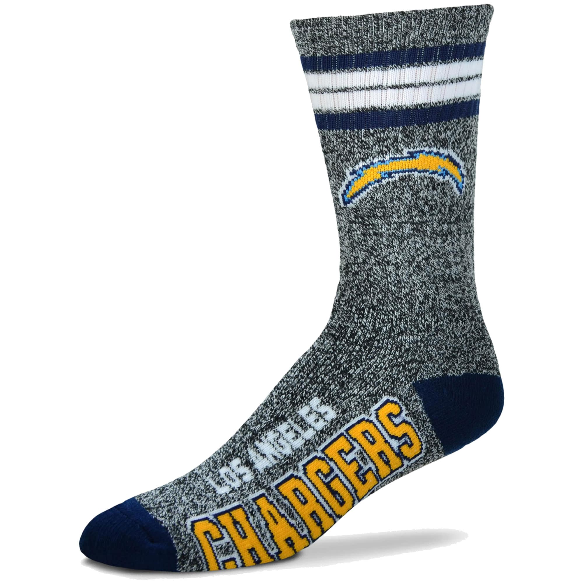 Los Angeles Chargers For Bare Feet Got Marble Crew Socks - Gray