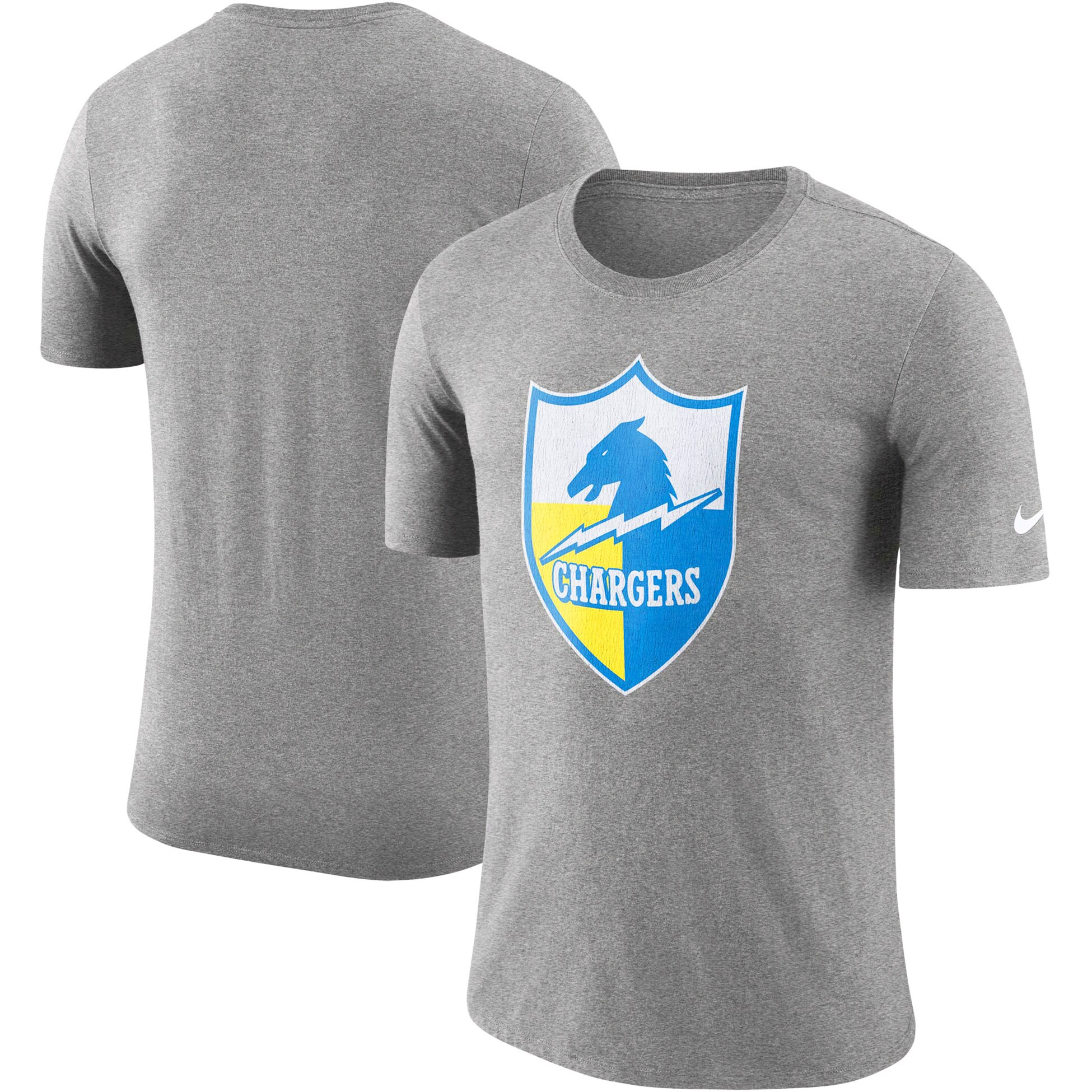 Los Angeles Chargers Nike Historic Tri-Blend Crackle T-Shirt - Heathered Gray