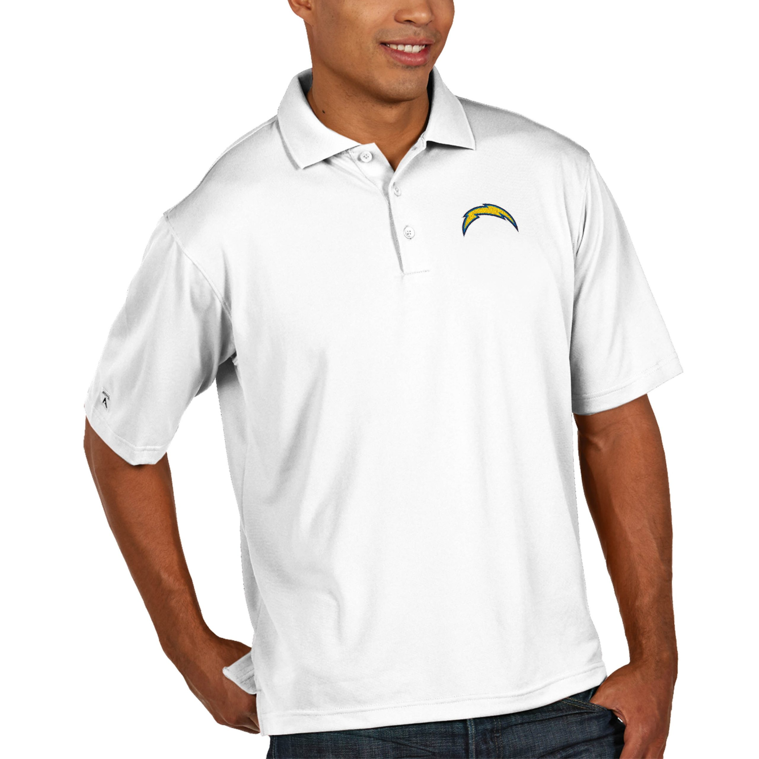 Los Angeles Chargers Antigua Pique Xtra Lite Big & Tall Polo - White