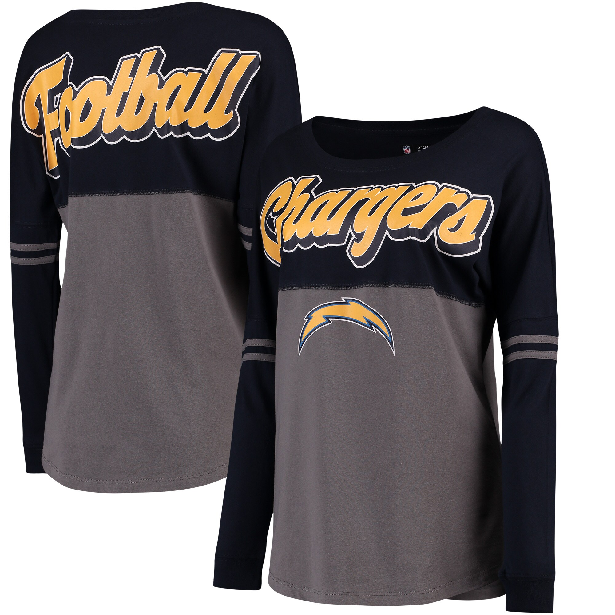 Los Angeles Chargers 5th & Ocean by New Era Women's Athletic Varsity Long Sleeve T-Shirt - Navy/Charcoal
