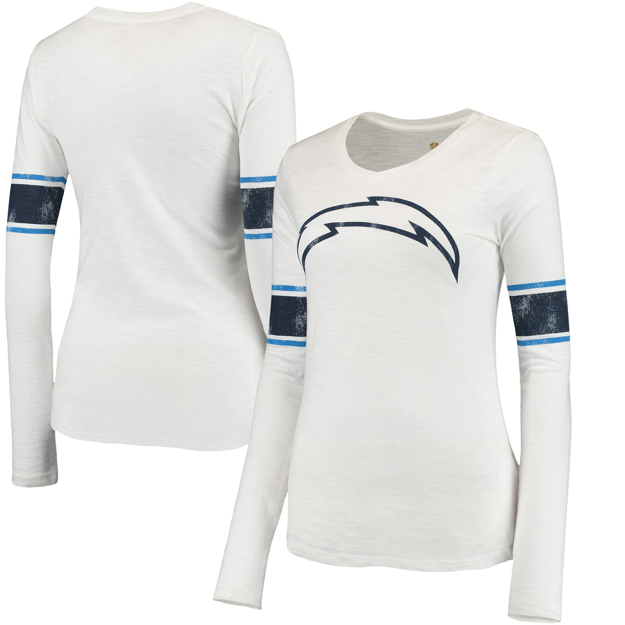 Los Angeles Chargers Juniors Team Leader V-Neck Long Sleeve T-Shirt - White