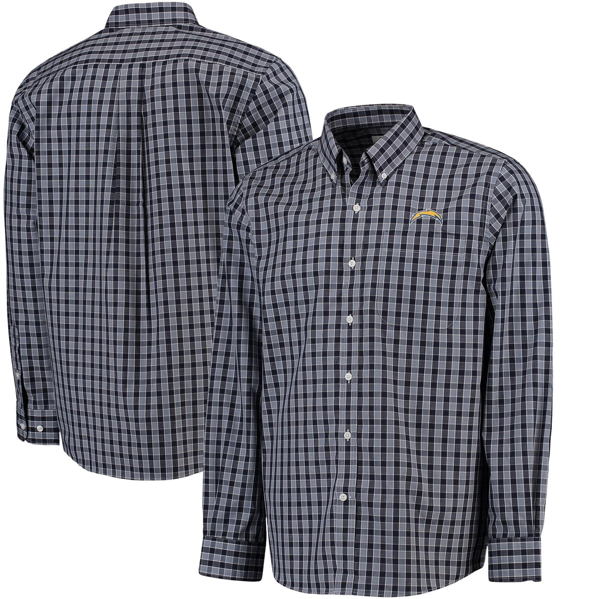 Los Angeles Chargers Cutter & Buck Discovery Park Plaid Long Sleeve Woven Shirt - Navy