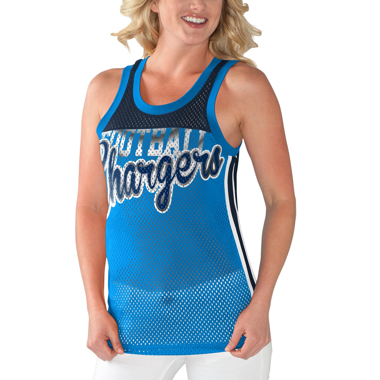 Los Angeles Chargers G-III 4Her by Carl Banks Women's Championship Mesh Tank Top - Light Blue/Navy