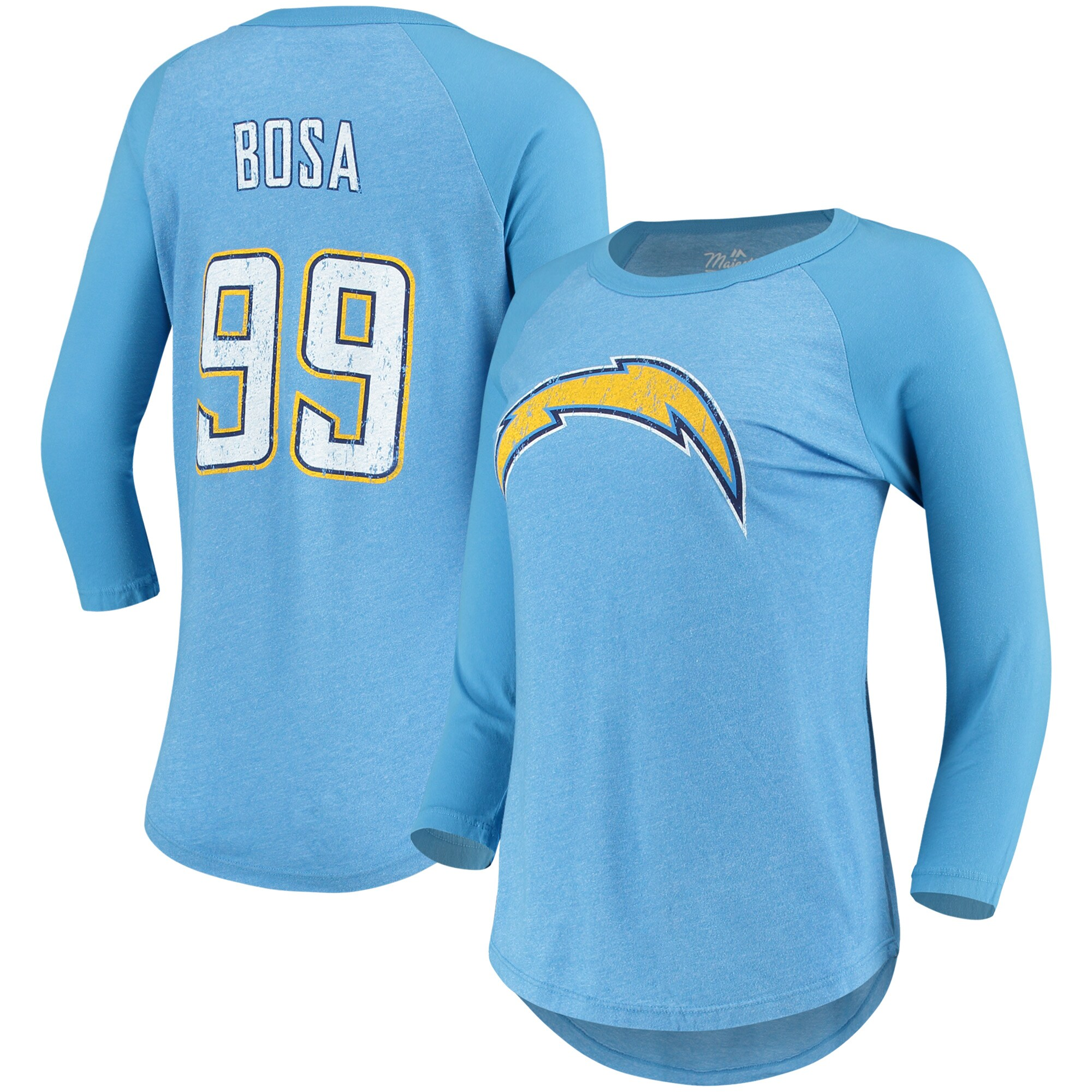 Joey Bosa Los Angeles Chargers Majestic Women's Player Name & Number Tri-Blend Three-Quarter Sleeve T-Shirt - Powder Blue