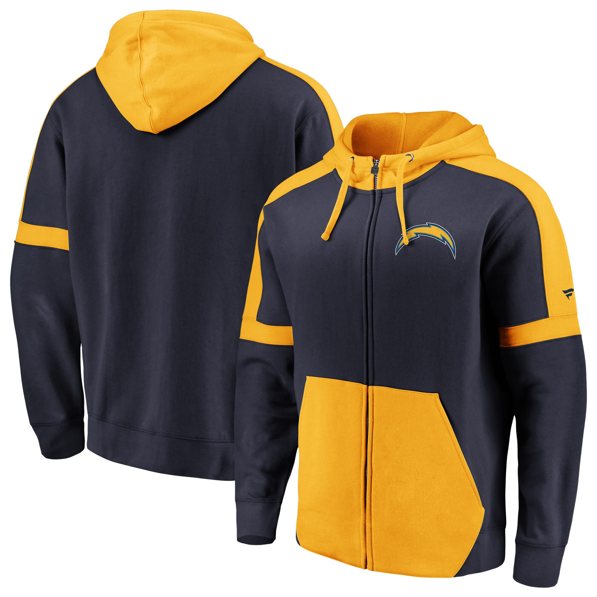 Los Angeles Chargers NFL Pro Line by Fanatics Branded Big & Tall Iconic Full-Zip Hoodie - Navy/Gold