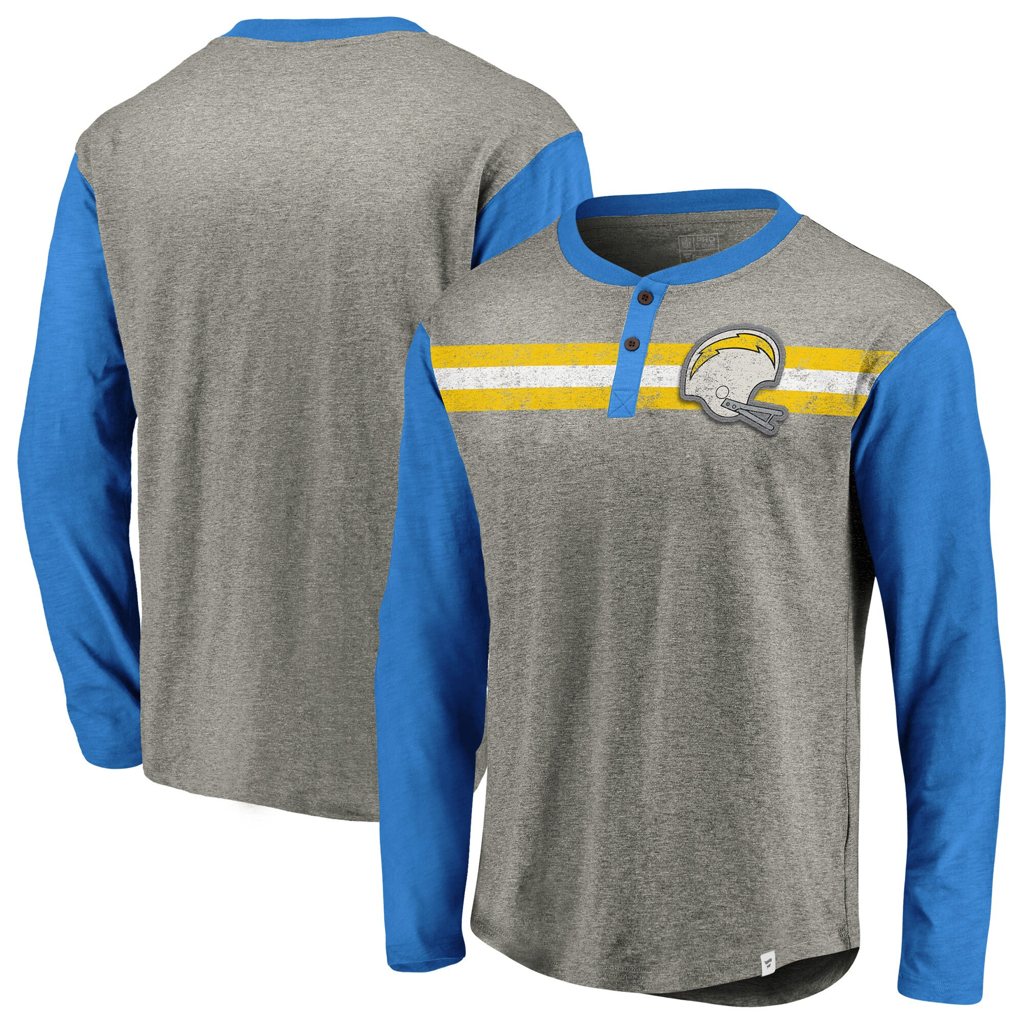 Los Angeles Chargers NFL Pro Line by Fanatics Branded True Classics Henley Long Sleeve T-Shirt - Heathered Gray/Powder Blue