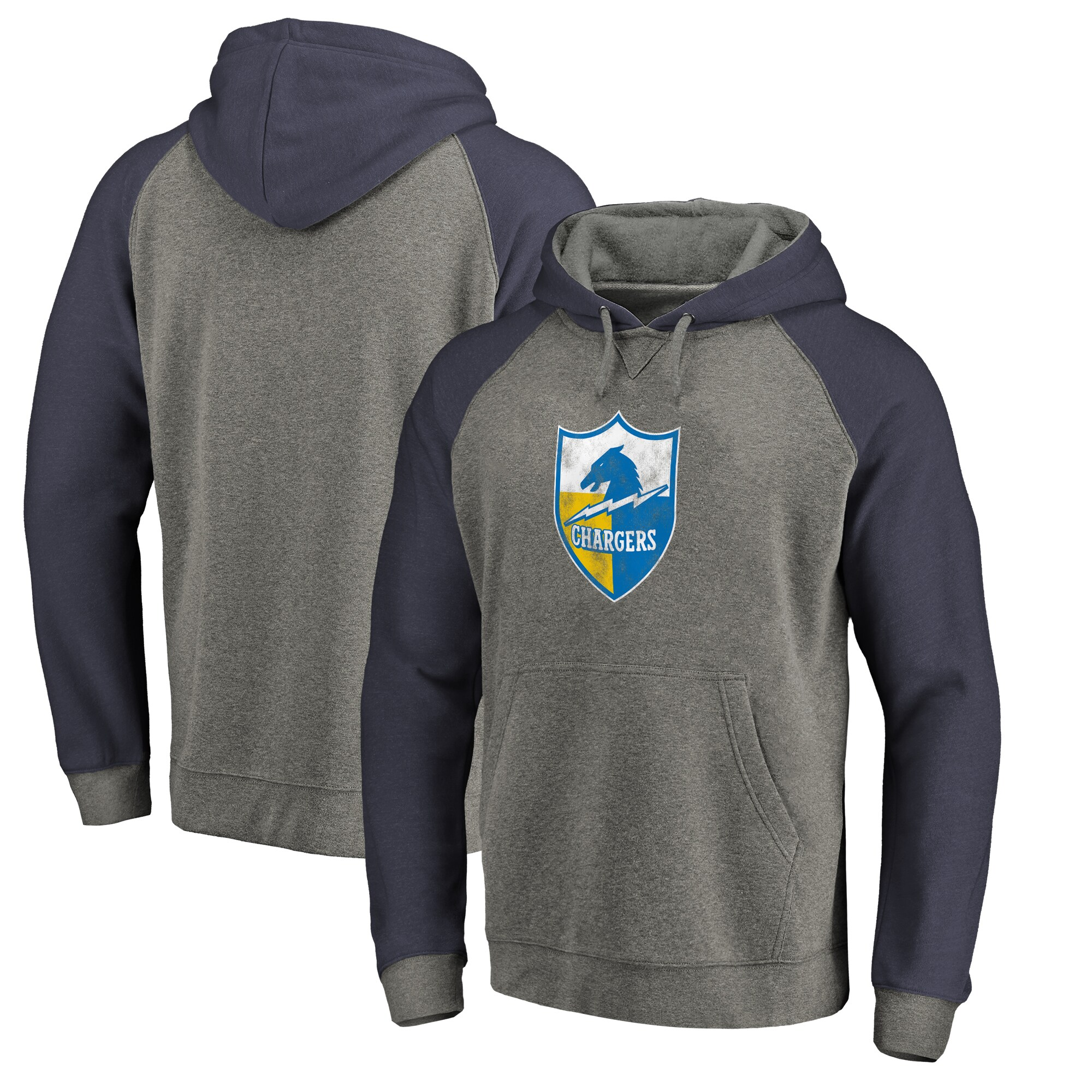 Los Angeles Chargers NFL Pro Line by Fanatics Branded Throwback Logo Tri-Blend Raglan Pullover Hoodie - Gray/Navy
