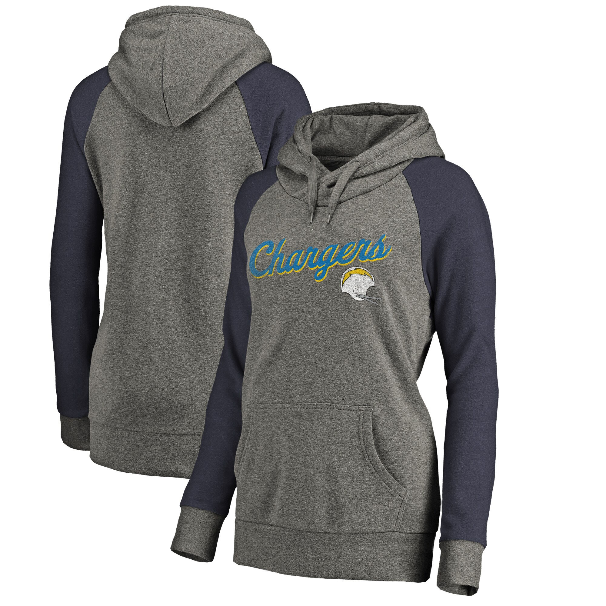 Los Angeles Chargers NFL Pro Line by Fanatics Branded Women's Timeless Collection Rising Script Tri-Blend Raglan Pullover Hoodie - Ash