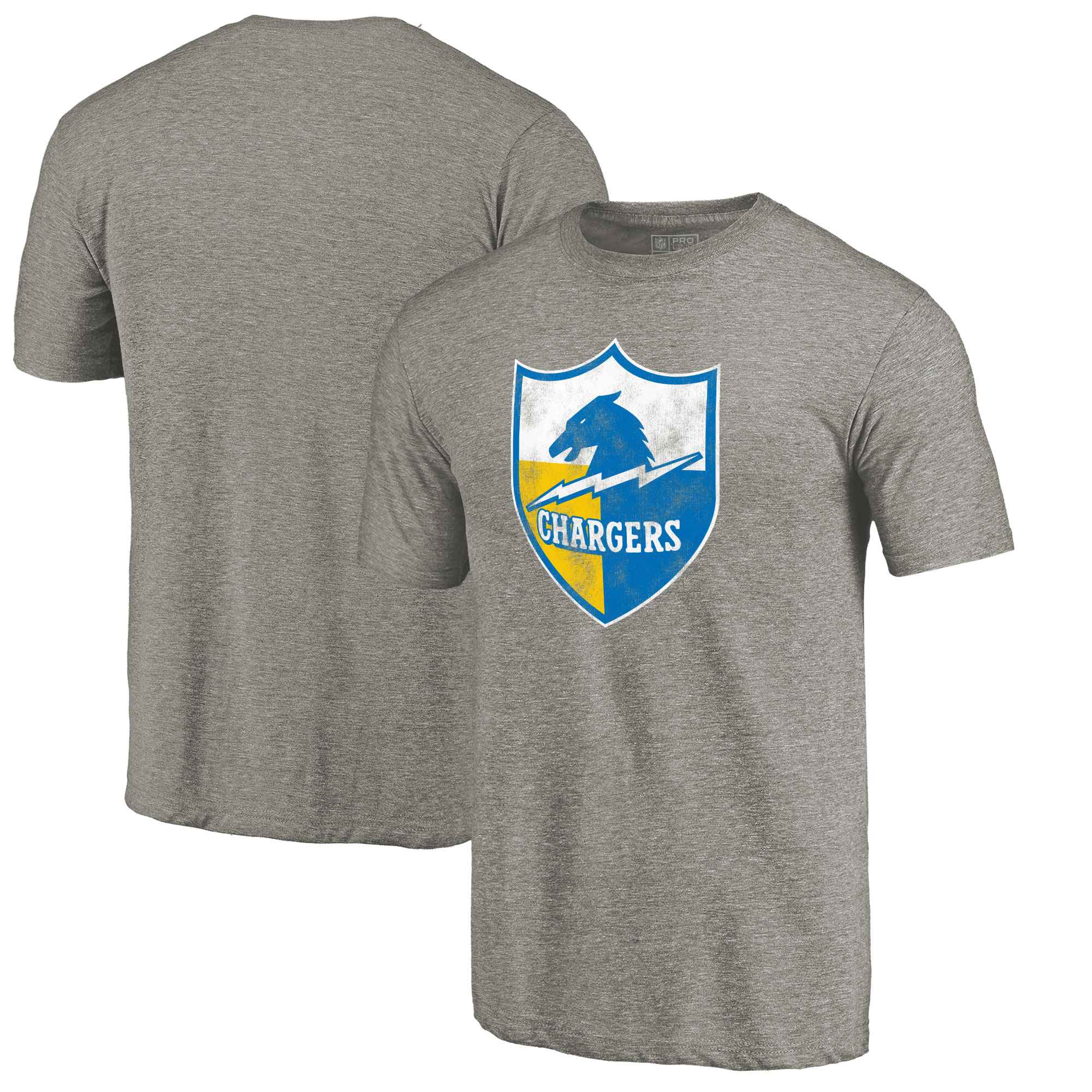 Los Angeles Chargers NFL Pro Line by Fanatics Branded Throwback Logo Tri-Blend T-Shirt - Ash
