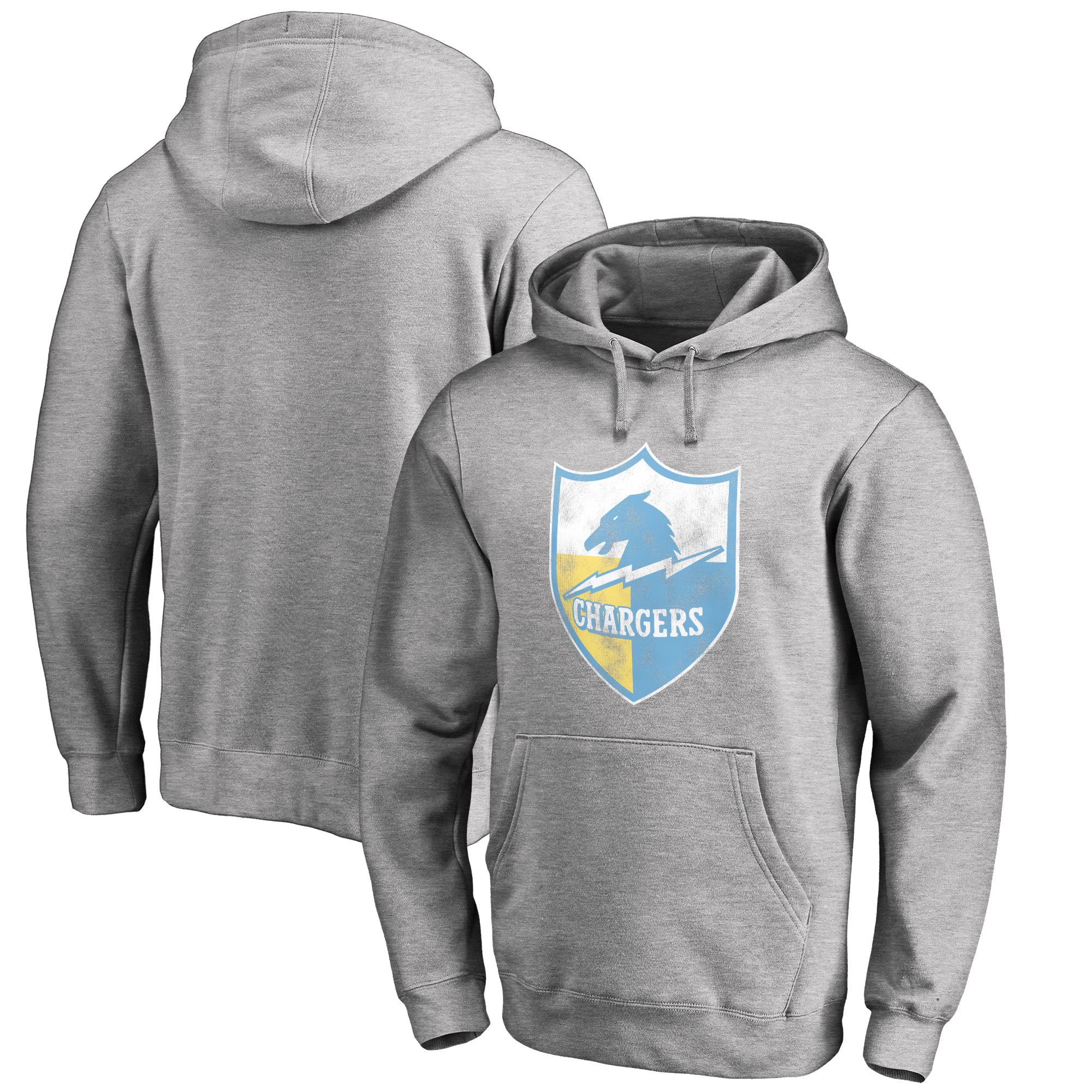 Los Angeles Chargers NFL Pro Line by Fanatics Branded Throwback Logo Pullover Hoodie - Ash