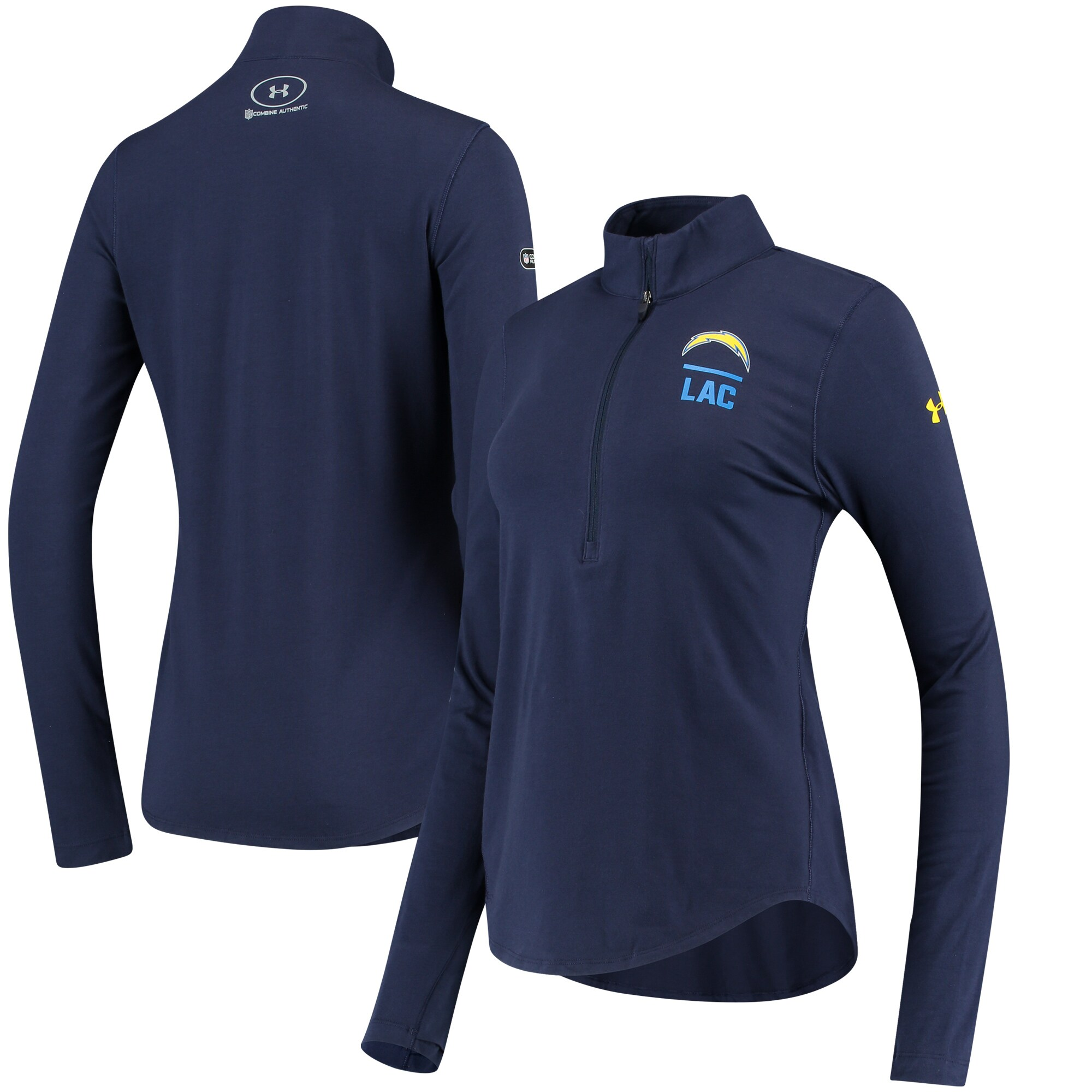 Los Angeles Chargers Under Armour Women's Combine Authentic Favorites Performance Tri-Blend Half-Zip Pullover Jacket - Navy