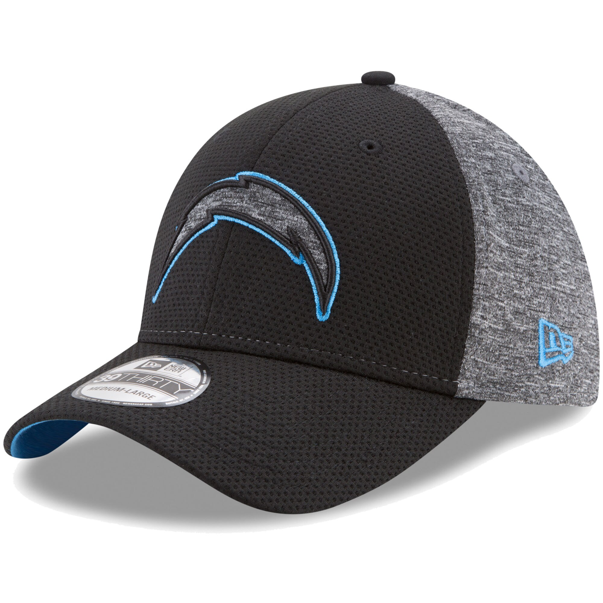 Los Angeles Chargers New Era Fierce Fill 39THIRTY Flex Hat - Black/Heathered Gray